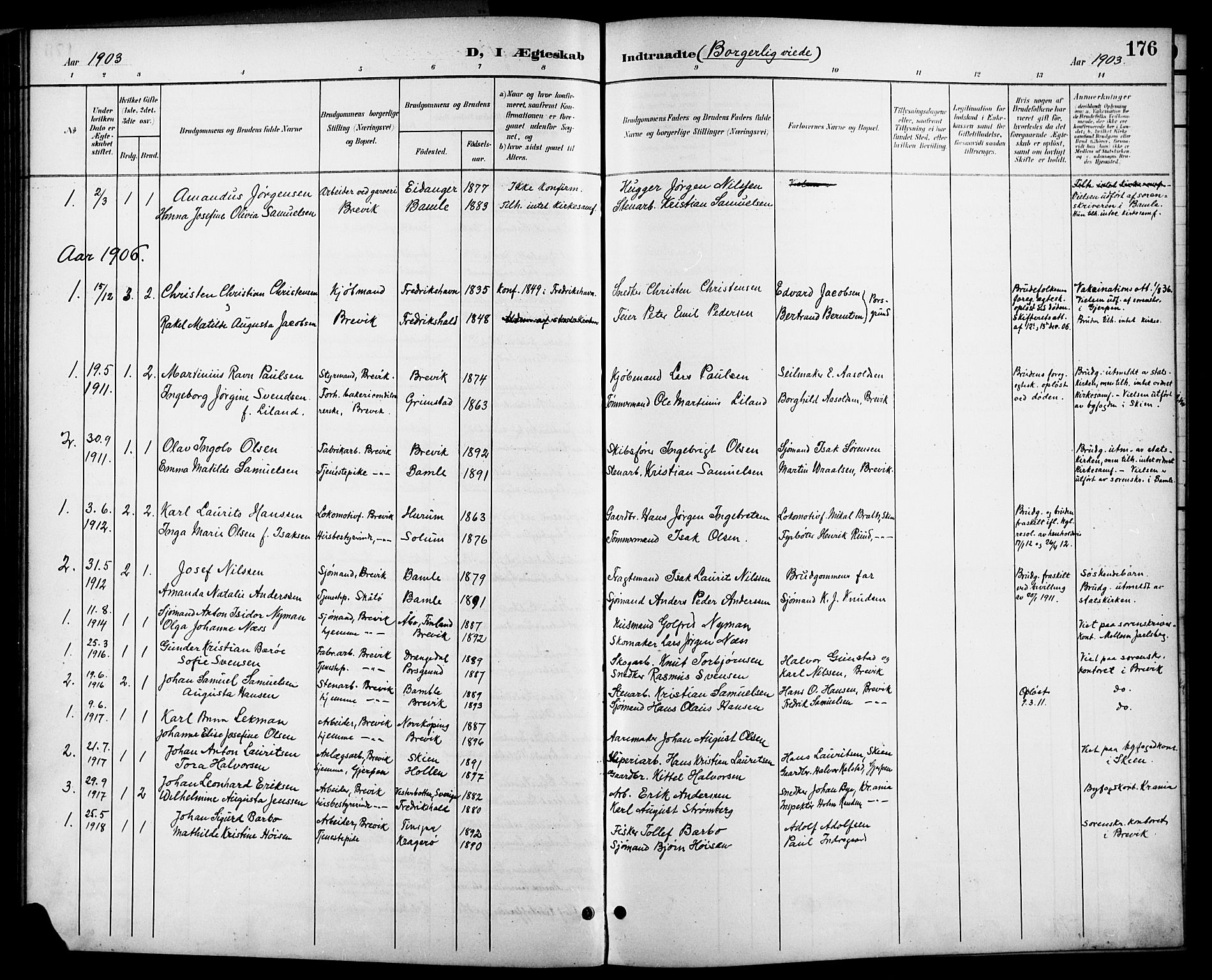 SAKO, Brevik kirkebøker, G/Ga/L0005: Klokkerbok nr. 5, 1901-1924, s. 176