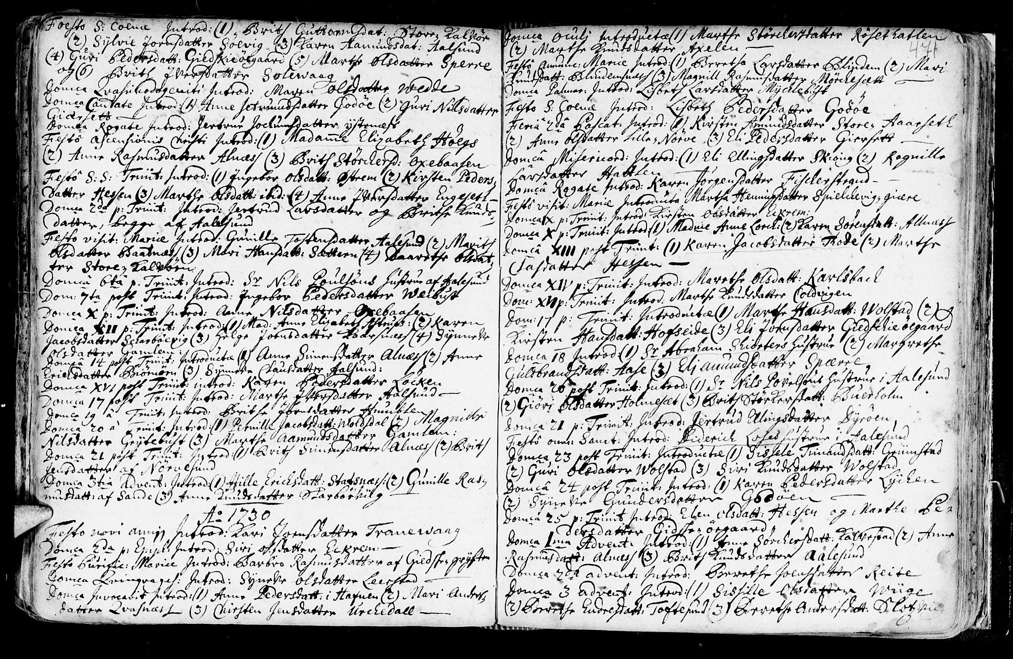 SAT, Ministerialprotokoller, klokkerbøker og fødselsregistre - Møre og Romsdal, 528/L0390: Ministerialbok nr. 528A01, 1698-1739, s. 470-471