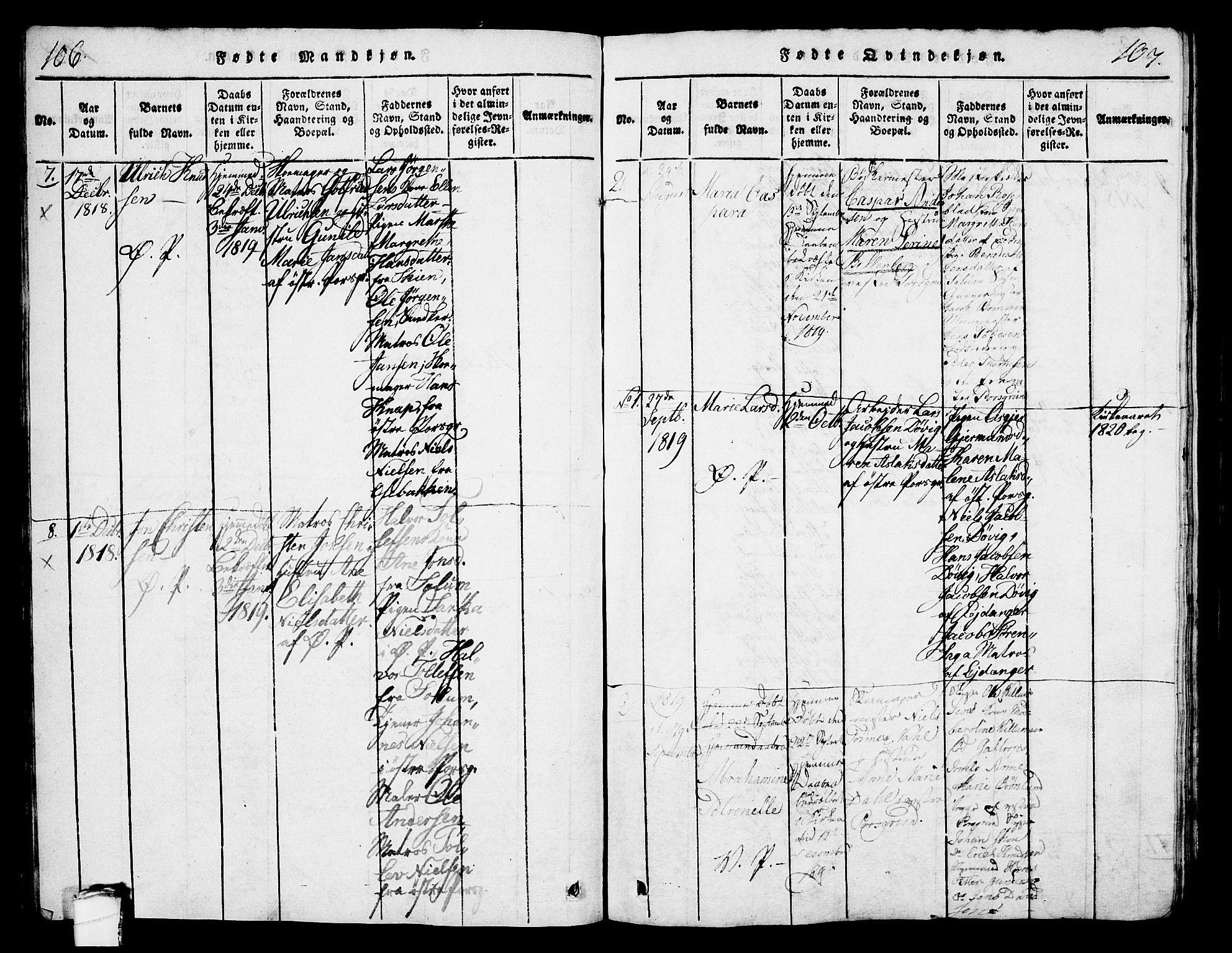 SAKO, Porsgrunn kirkebøker , G/Gb/L0001: Klokkerbok nr. II 1, 1817-1828, s. 106-107