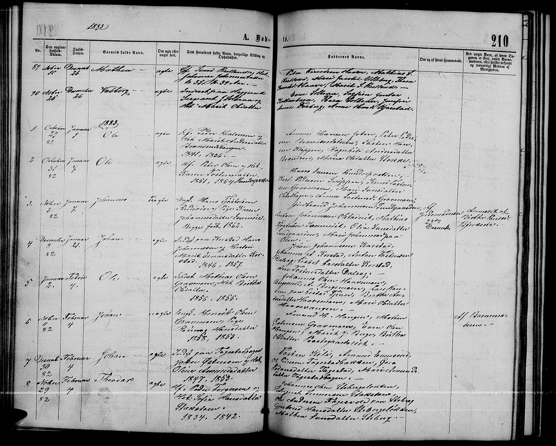 SAH, Sør-Fron prestekontor, H/Ha/Hab/L0002: Klokkerbok nr. 2, 1864-1883, s. 210