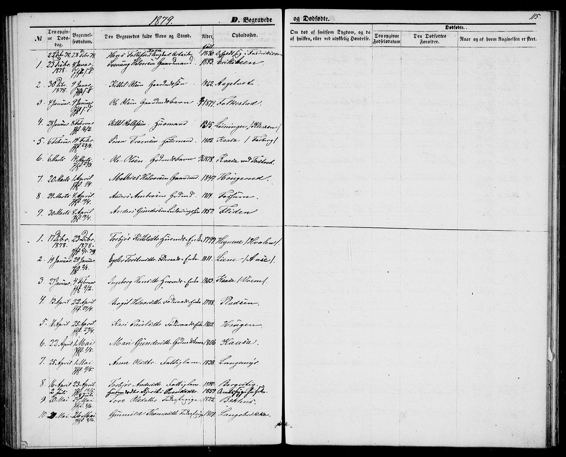 SAKO, Bø kirkebøker, G/Ga/L0004: Klokkerbok nr. 4, 1876-1882, s. 115