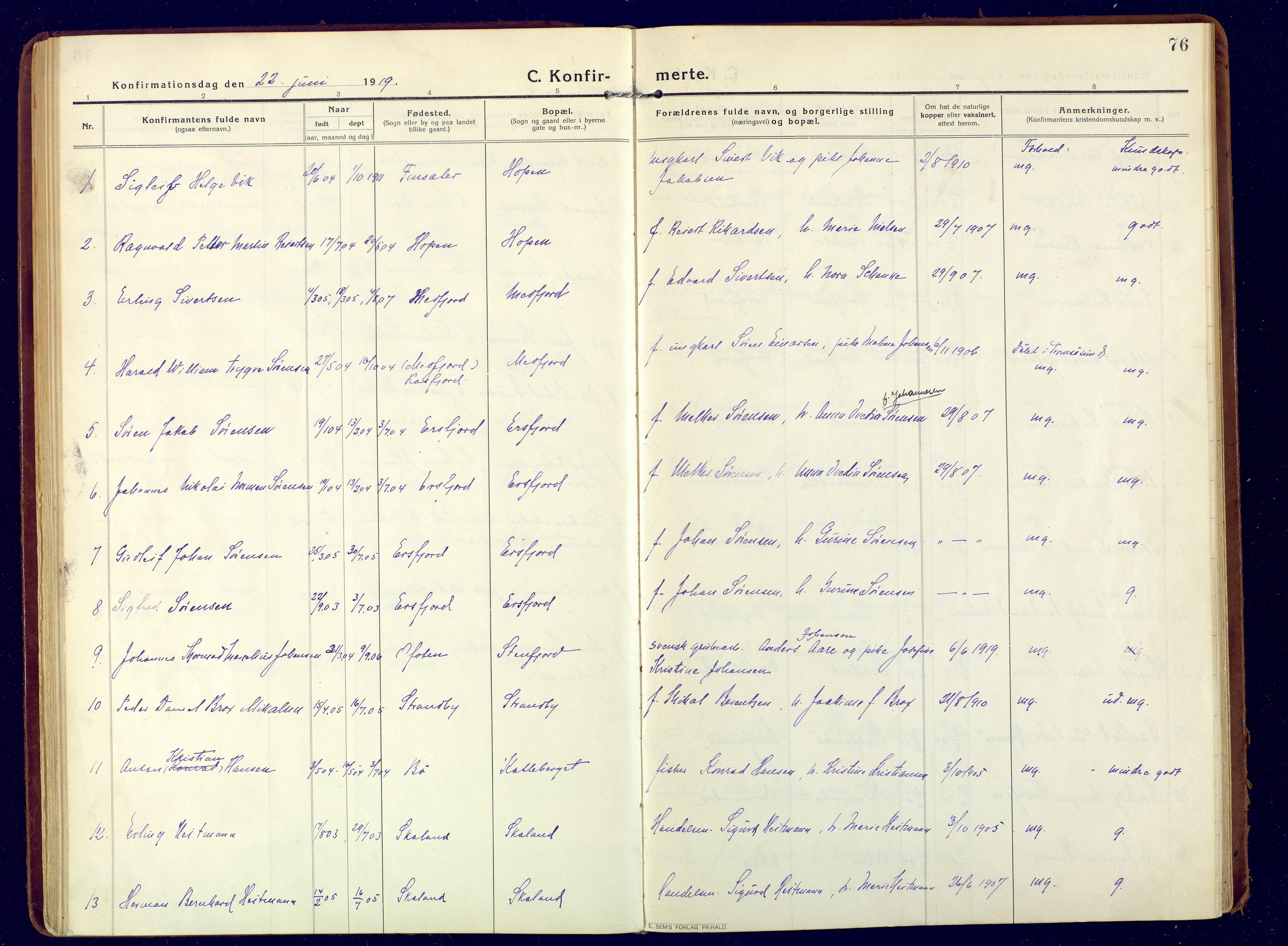 SATØ, Mefjord/Berg sokneprestkontor, G/Ga/Gaa: Ministerialbok nr. 9, 1916-1928, s. 76