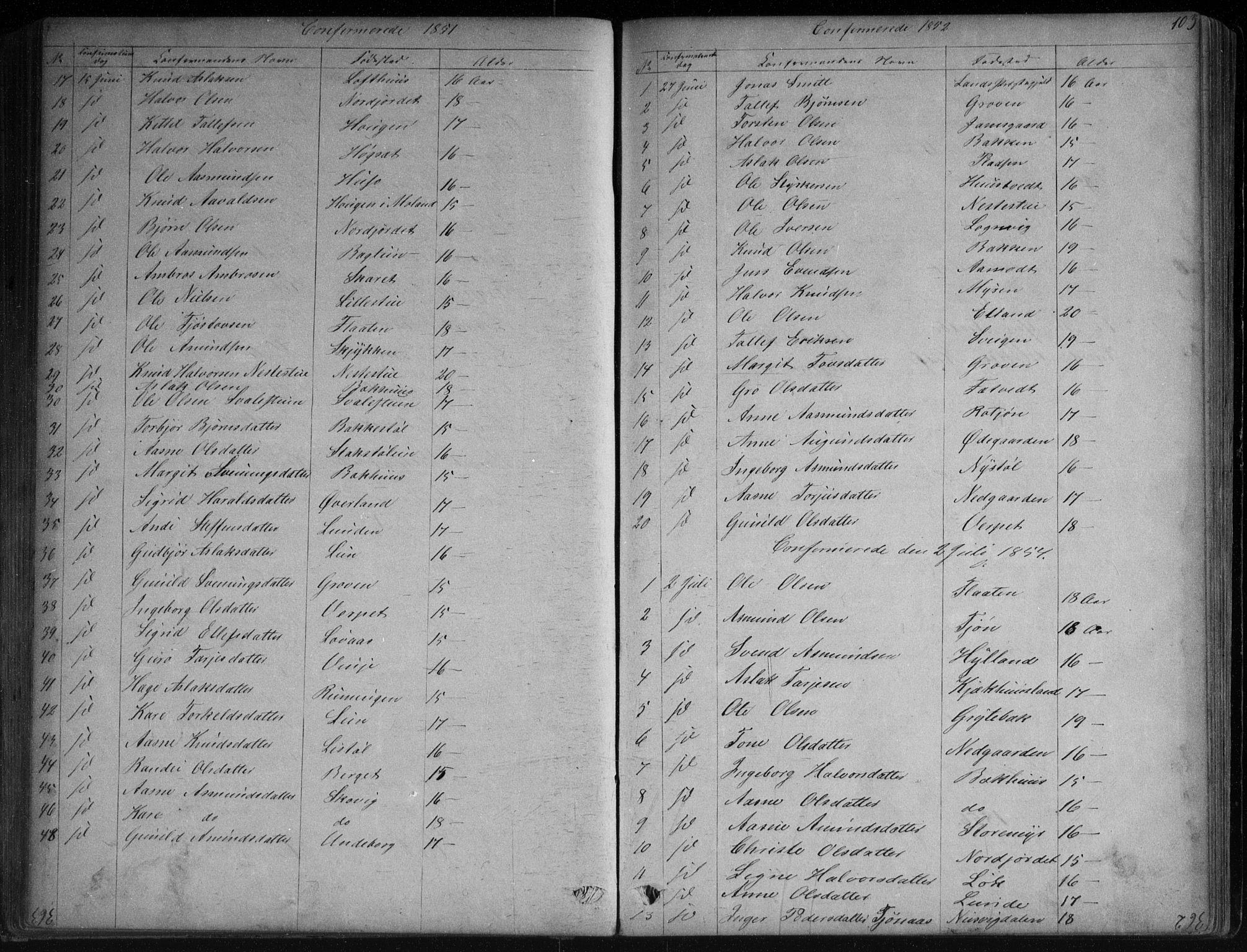 SAKO, Vinje kirkebøker, G/Ga/L0002: Klokkerbok nr. I 2, 1849-1893, s. 103
