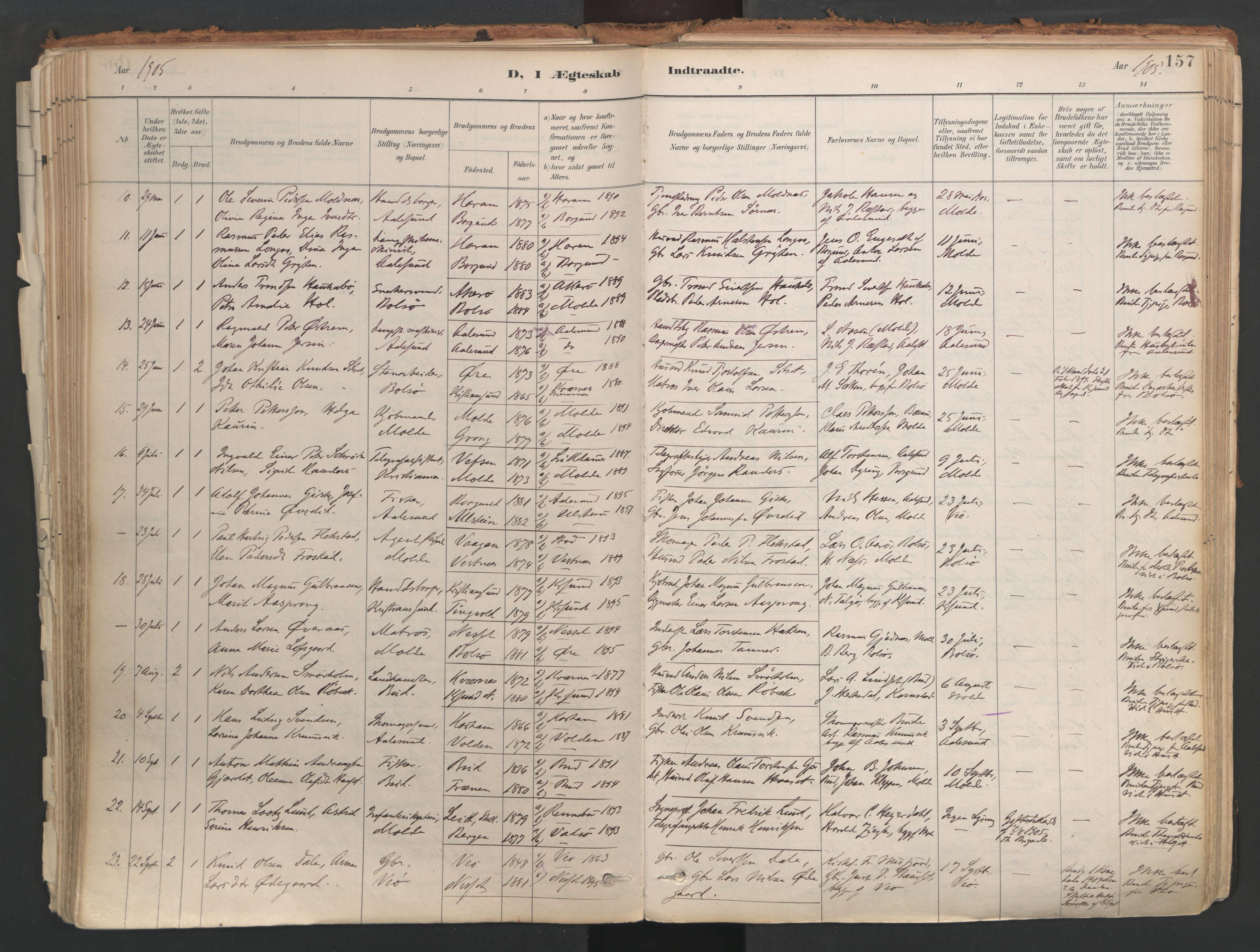 SAT, Ministerialprotokoller, klokkerbøker og fødselsregistre - Møre og Romsdal, 558/L0692: Ministerialbok nr. 558A06, 1887-1971, s. 157
