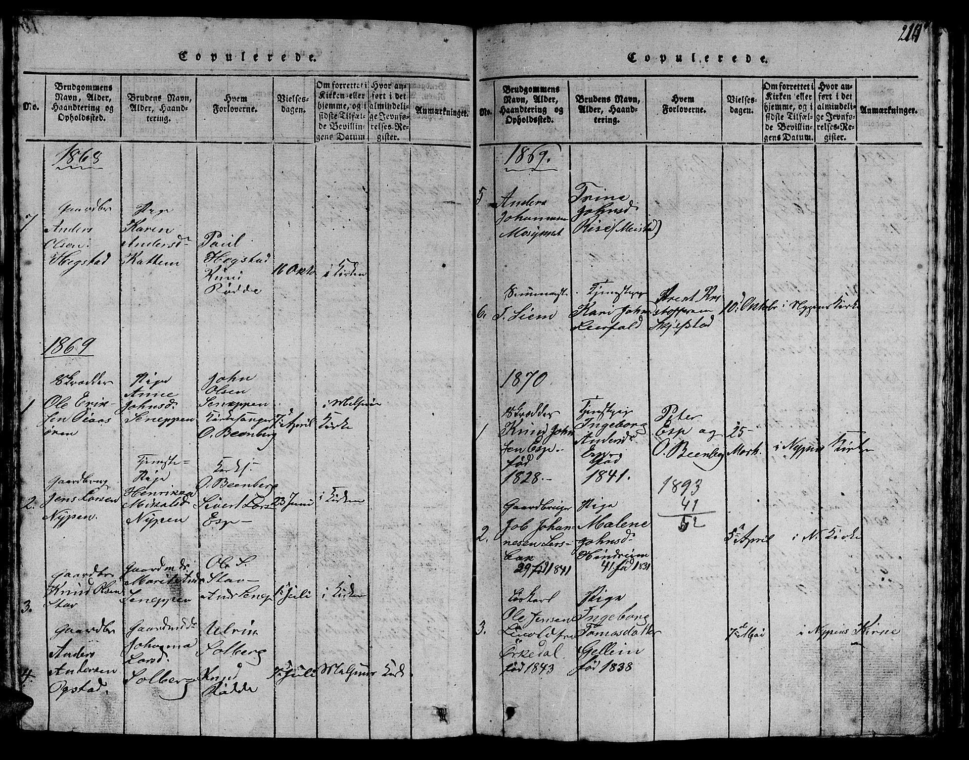 SAT, Ministerialprotokoller, klokkerbøker og fødselsregistre - Sør-Trøndelag, 613/L0393: Klokkerbok nr. 613C01, 1816-1886, s. 214