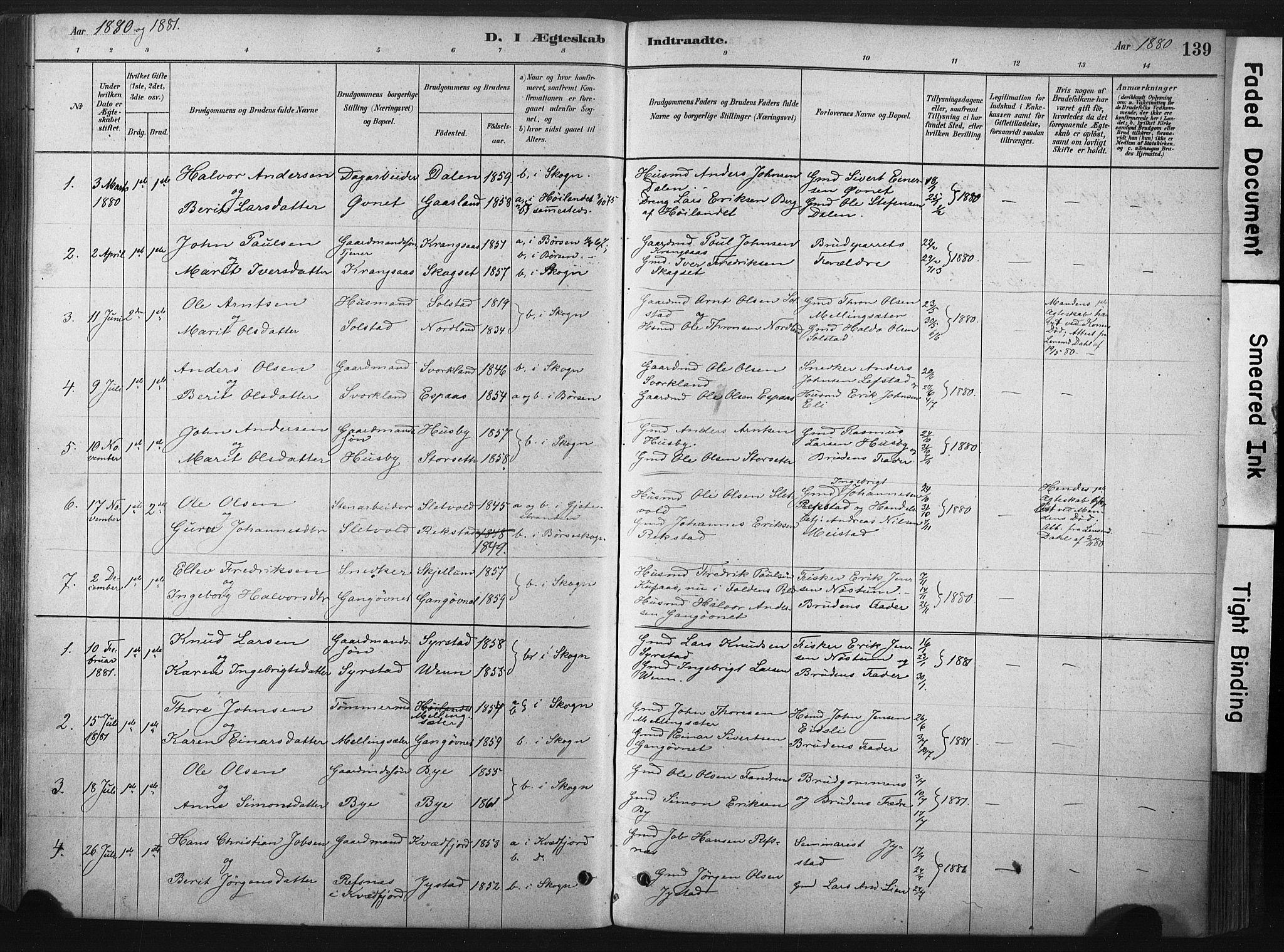 SAT, Ministerialprotokoller, klokkerbøker og fødselsregistre - Sør-Trøndelag, 667/L0795: Ministerialbok nr. 667A03, 1879-1907, s. 139
