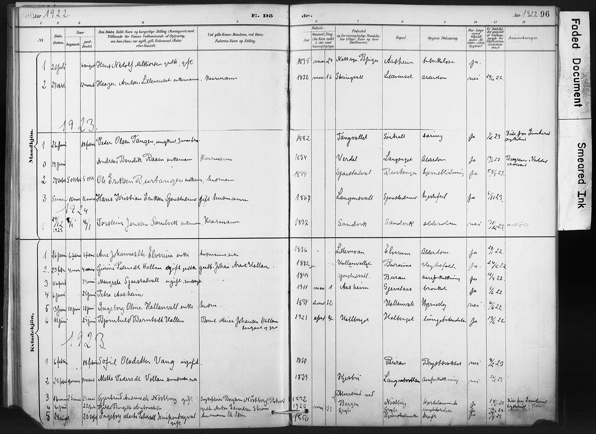 SAT, Ministerialprotokoller, klokkerbøker og fødselsregistre - Nord-Trøndelag, 718/L0175: Ministerialbok nr. 718A01, 1890-1923, s. 96
