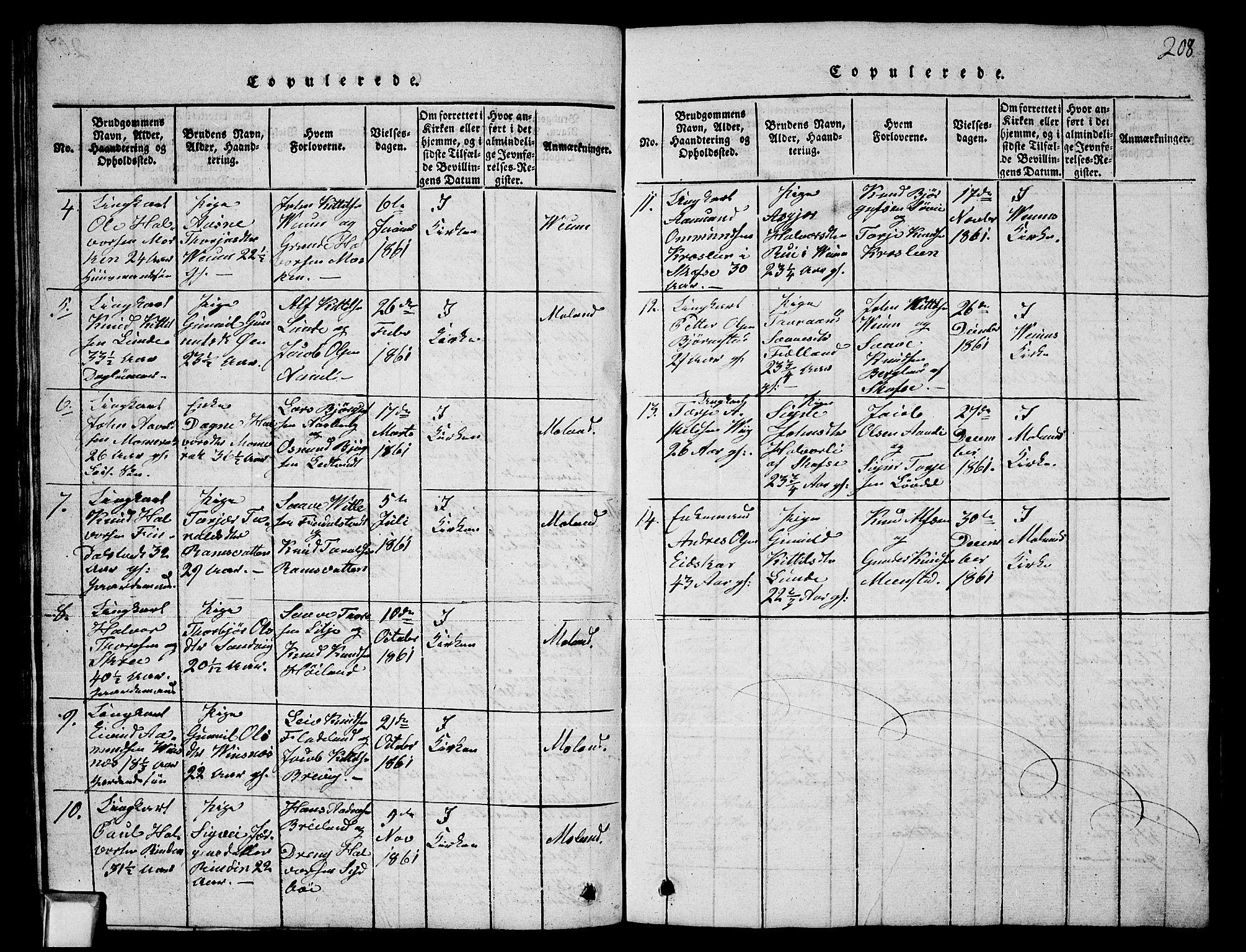 SAKO, Fyresdal kirkebøker, G/Ga/L0003: Klokkerbok nr. I 3, 1815-1863, s. 208