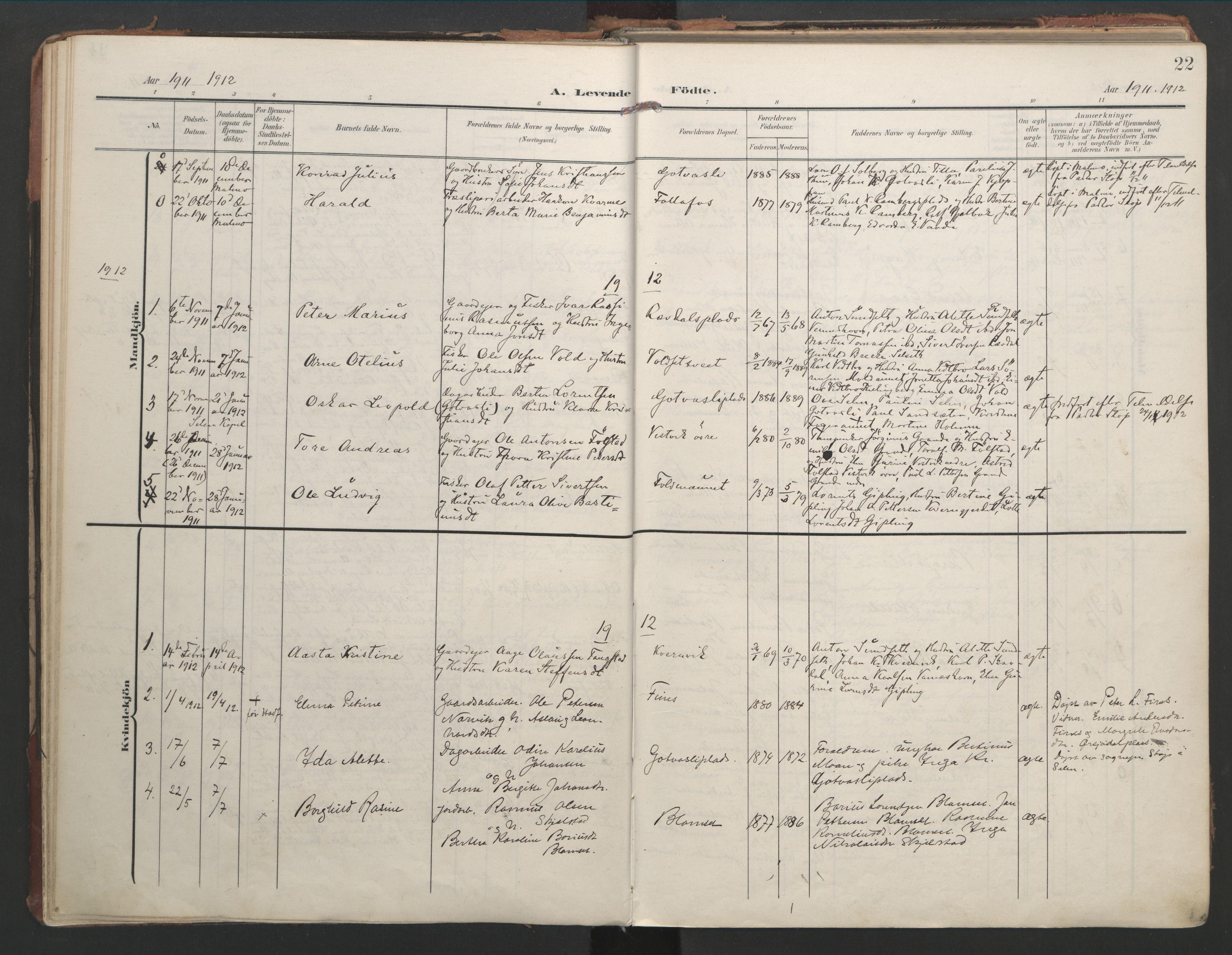 SAT, Ministerialprotokoller, klokkerbøker og fødselsregistre - Nord-Trøndelag, 744/L0421: Ministerialbok nr. 744A05, 1905-1930, s. 22