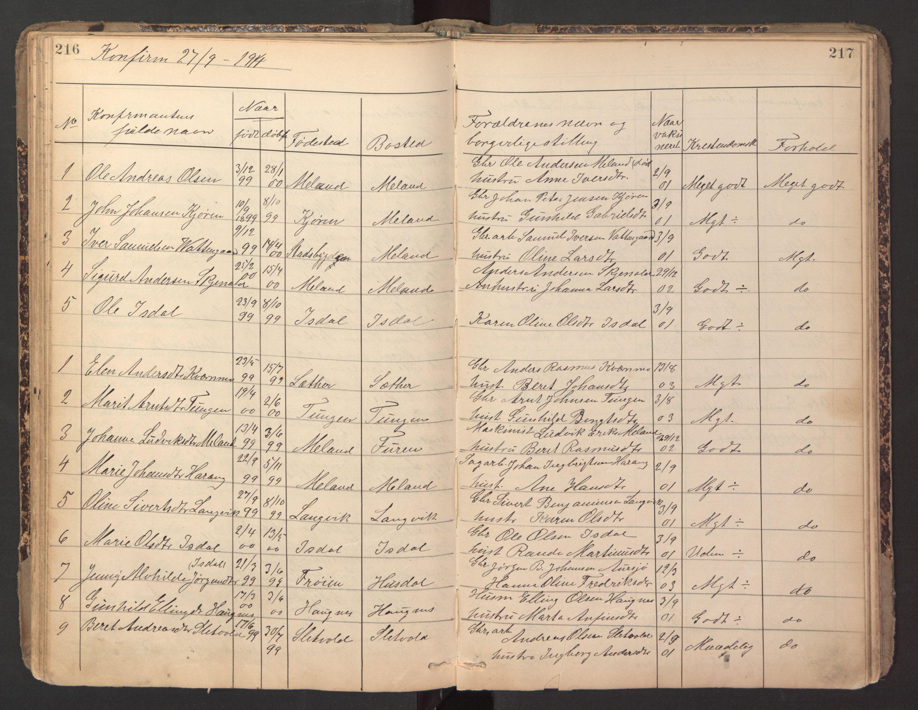 SAT, Ministerialprotokoller, klokkerbøker og fødselsregistre - Sør-Trøndelag, 670/L0837: Klokkerbok nr. 670C01, 1905-1946, s. 216-217