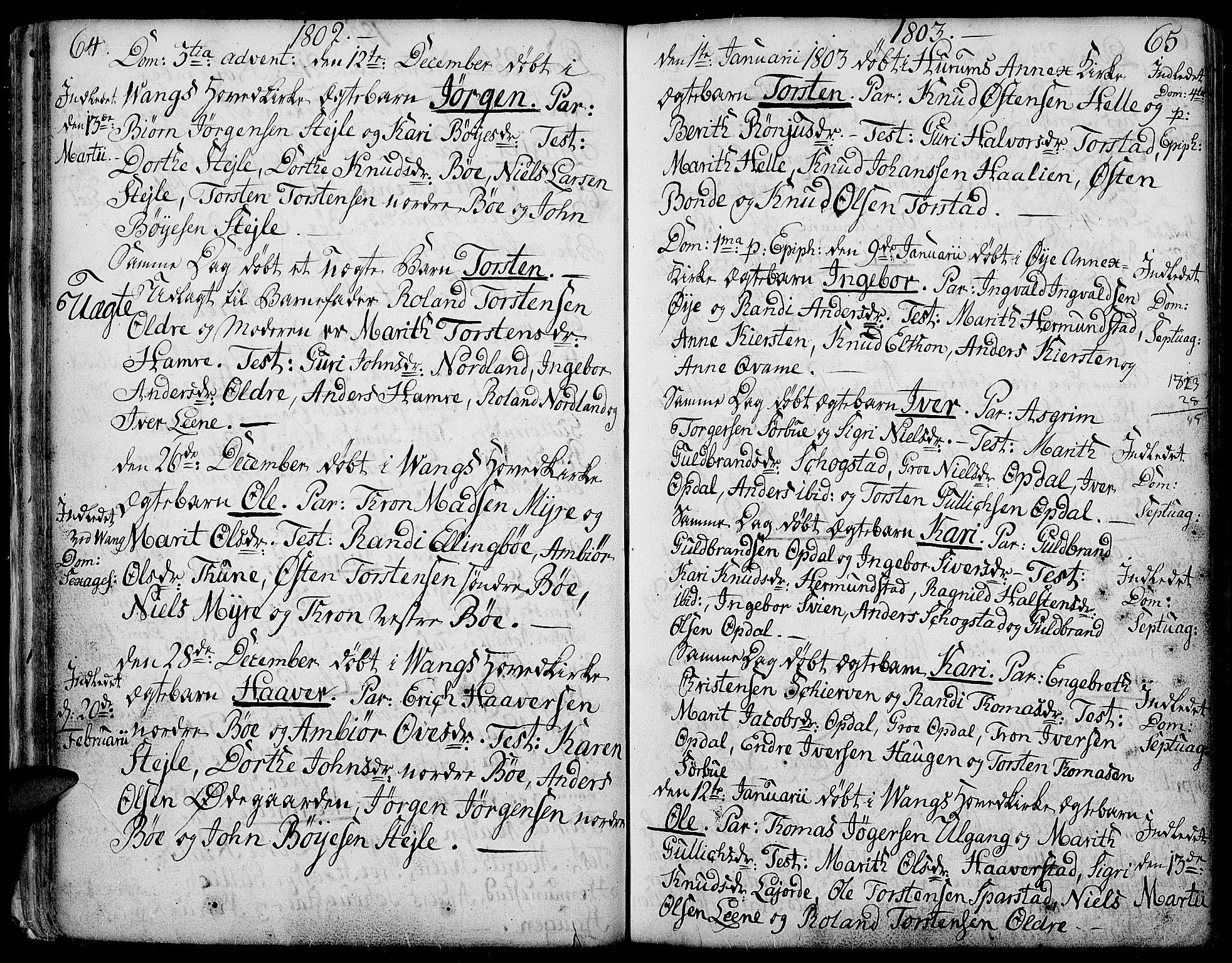 SAH, Vang prestekontor, Valdres, Ministerialbok nr. 2, 1796-1808, s. 64-65