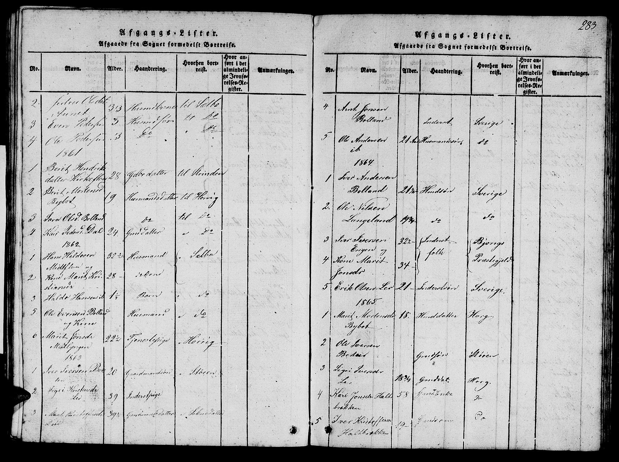 SAT, Ministerialprotokoller, klokkerbøker og fødselsregistre - Sør-Trøndelag, 693/L1121: Klokkerbok nr. 693C02, 1816-1869, s. 283