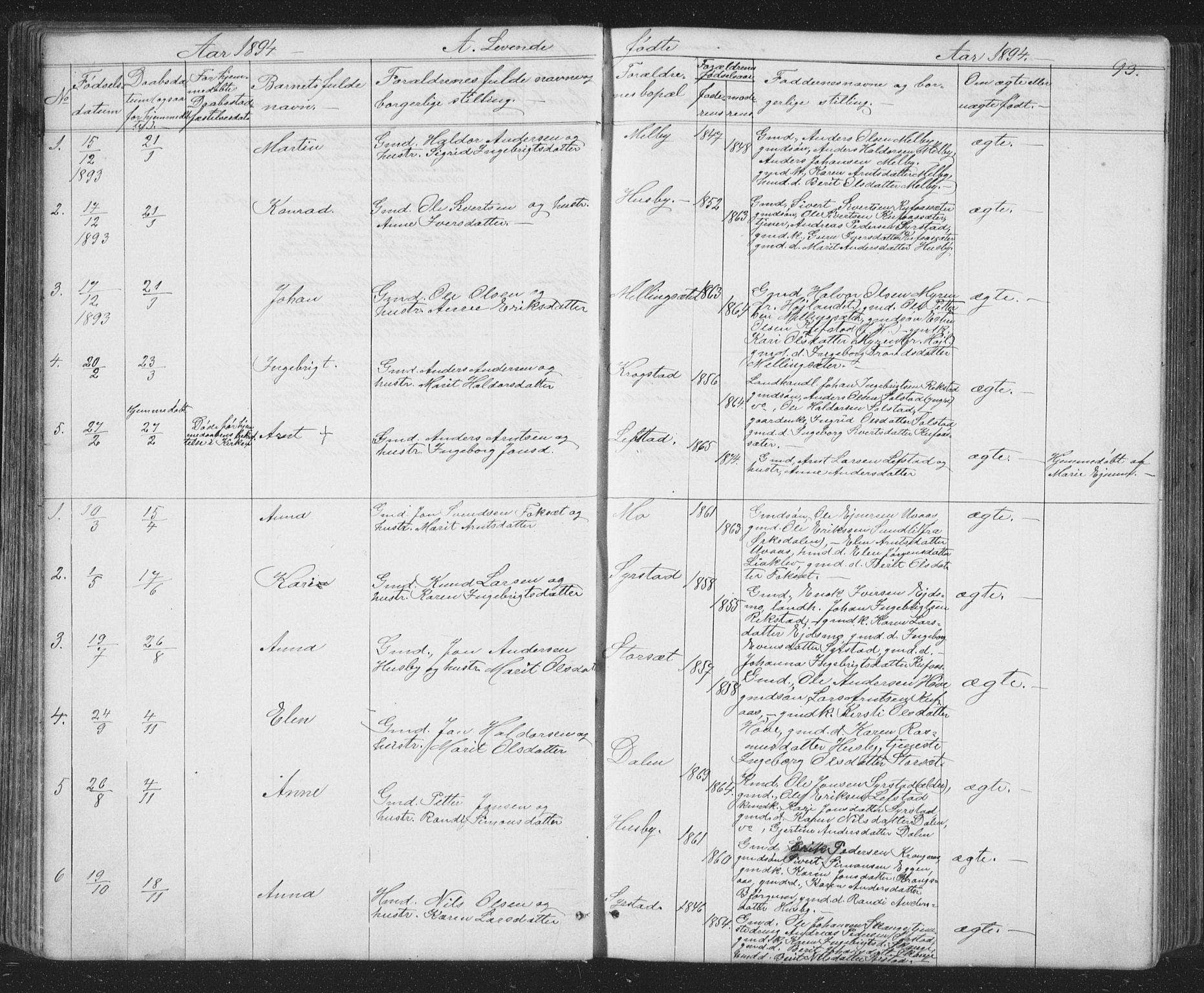 SAT, Ministerialprotokoller, klokkerbøker og fødselsregistre - Sør-Trøndelag, 667/L0798: Klokkerbok nr. 667C03, 1867-1929, s. 93