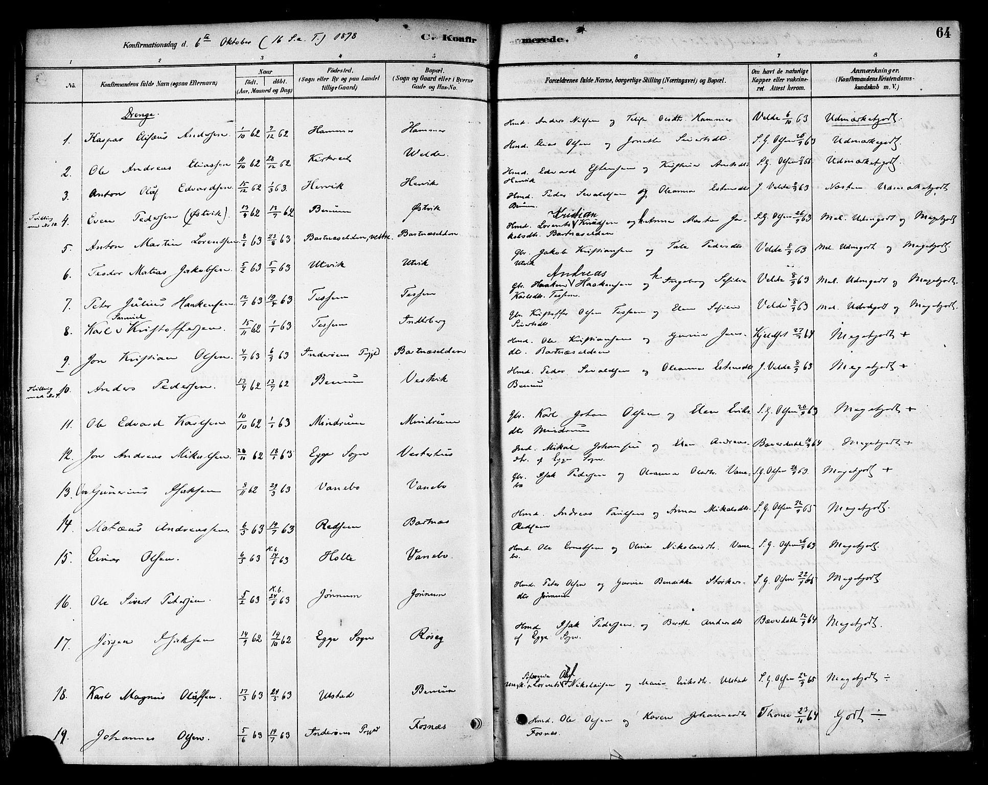 SAT, Ministerialprotokoller, klokkerbøker og fødselsregistre - Nord-Trøndelag, 741/L0395: Ministerialbok nr. 741A09, 1878-1888, s. 64