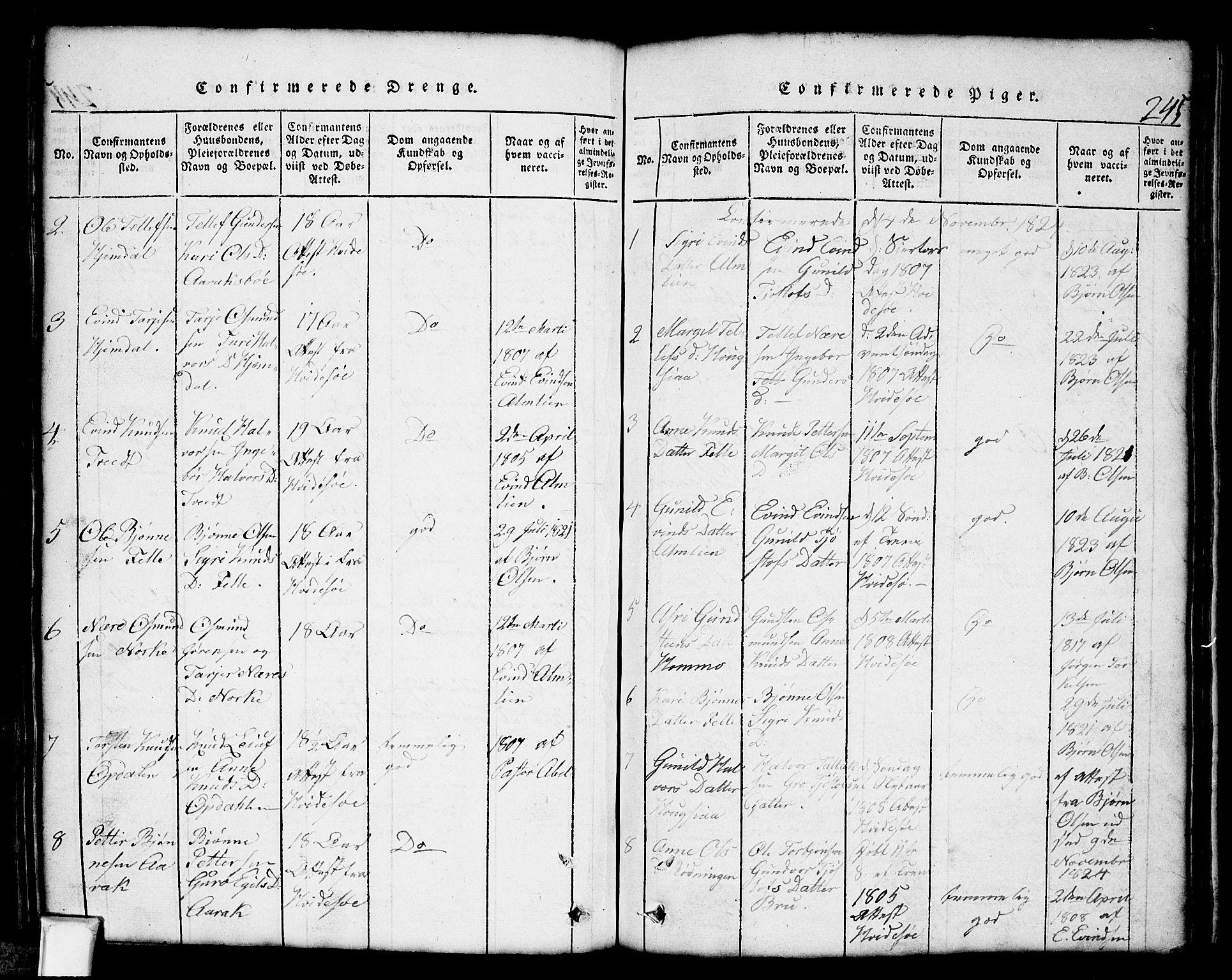 SAKO, Nissedal kirkebøker, G/Gb/L0001: Klokkerbok nr. II 1, 1814-1862, s. 245