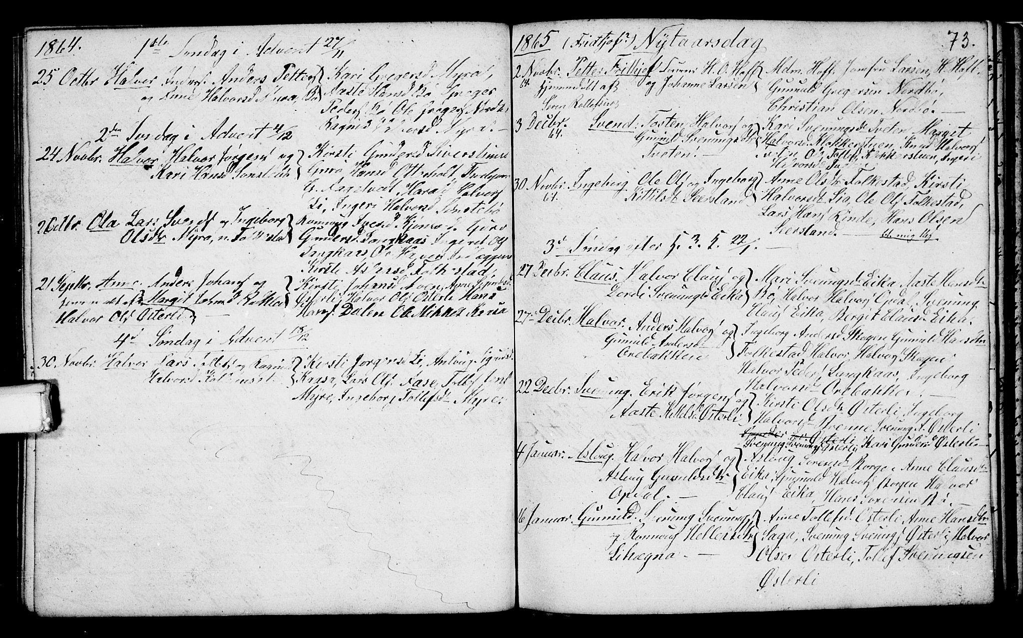 SAKO, Bø kirkebøker, G/Ga/L0002: Klokkerbok nr. 2, 1853-1866, s. 73
