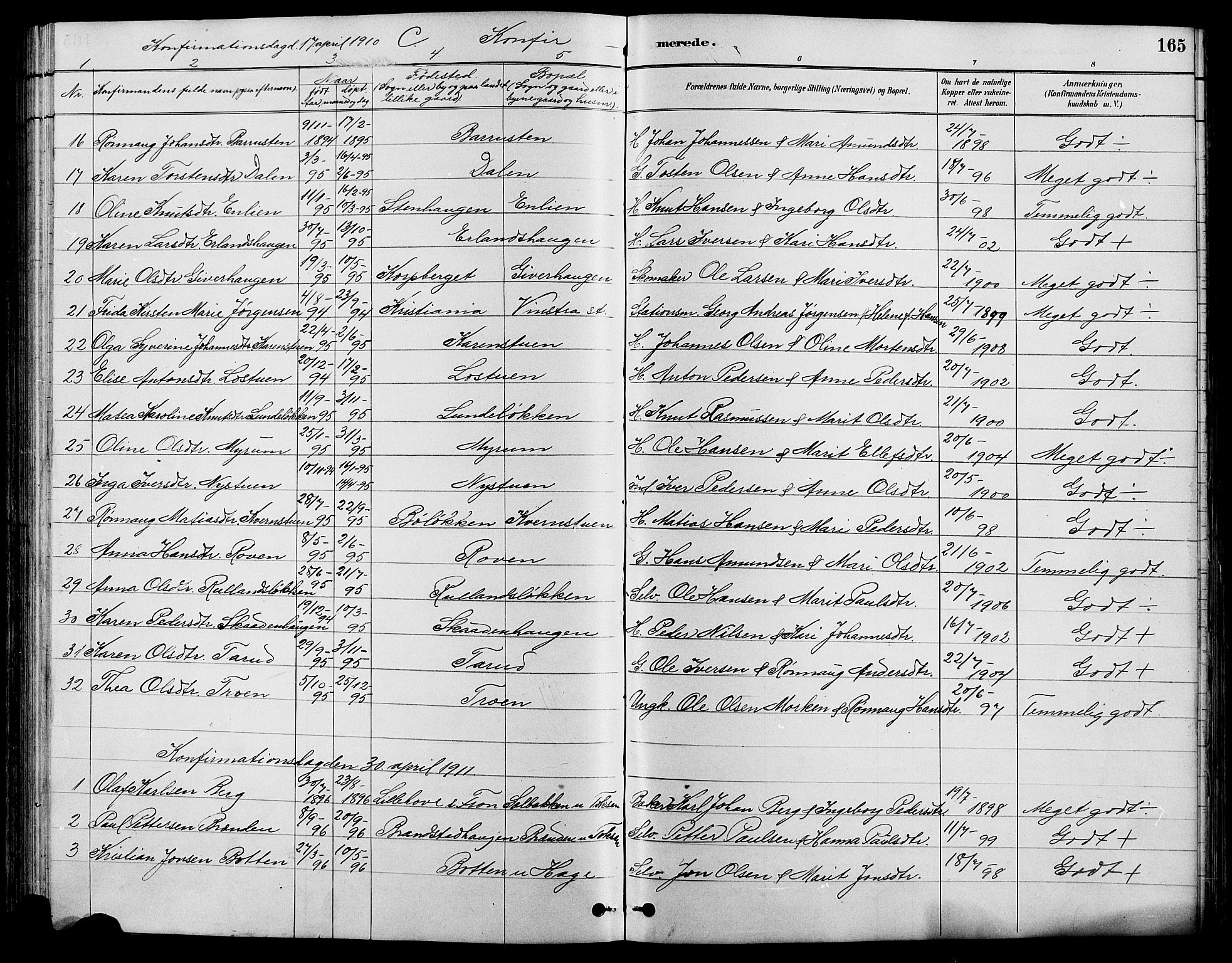 SAH, Nord-Fron prestekontor, Klokkerbok nr. 4, 1884-1914, s. 165