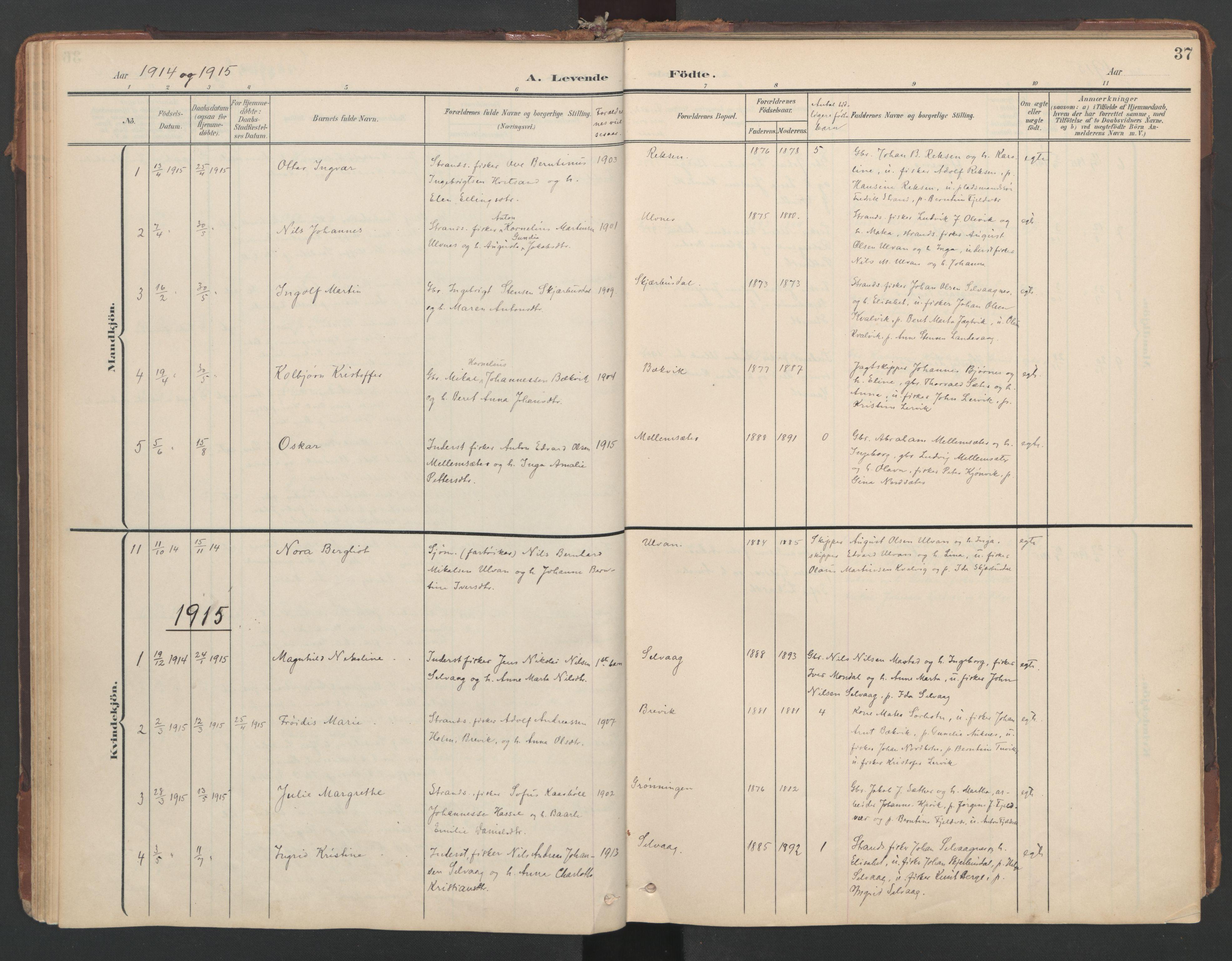 SAT, Ministerialprotokoller, klokkerbøker og fødselsregistre - Sør-Trøndelag, 638/L0568: Ministerialbok nr. 638A01, 1901-1916, s. 37