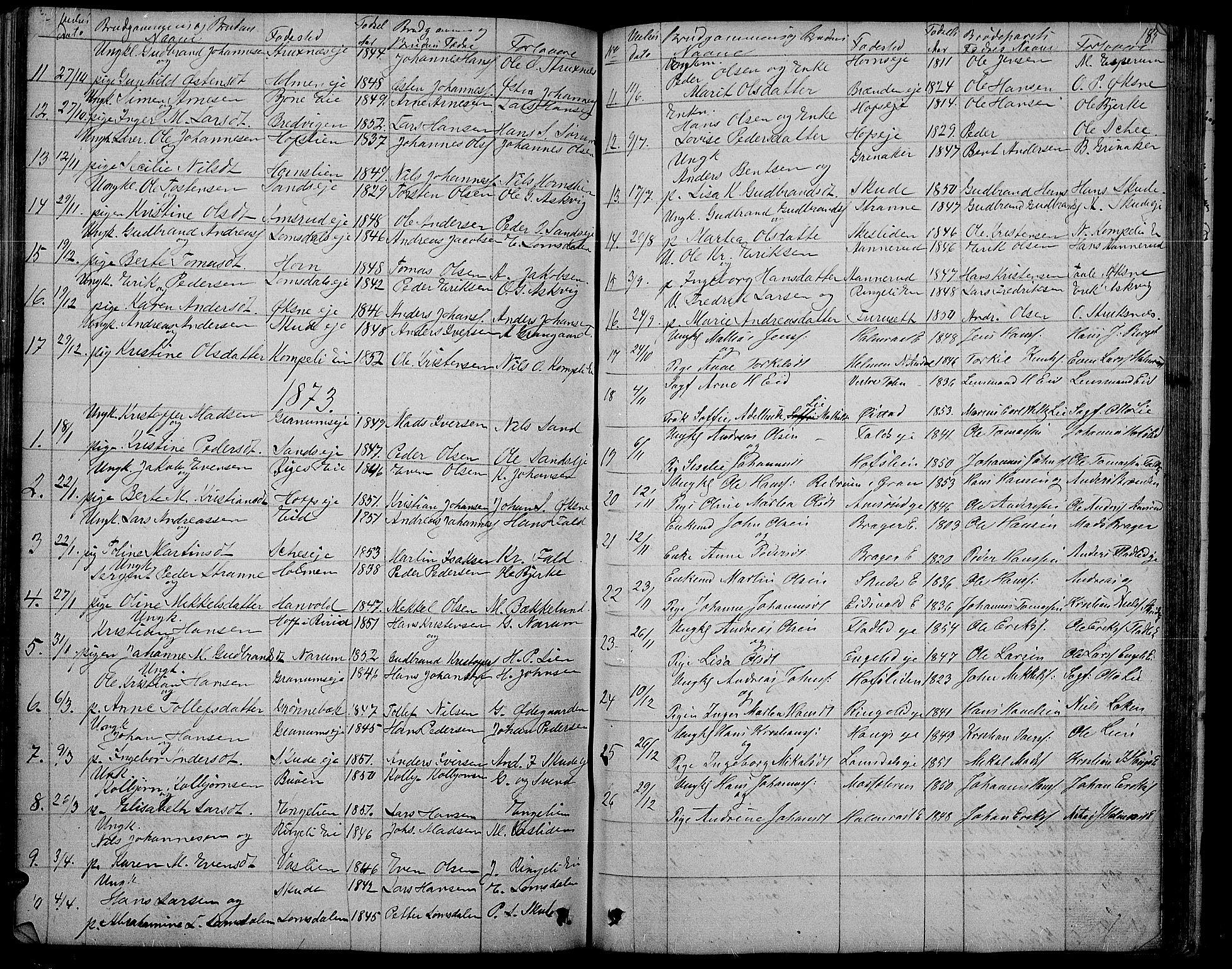 SAH, Søndre Land prestekontor, L/L0001: Klokkerbok nr. 1, 1849-1883, s. 185