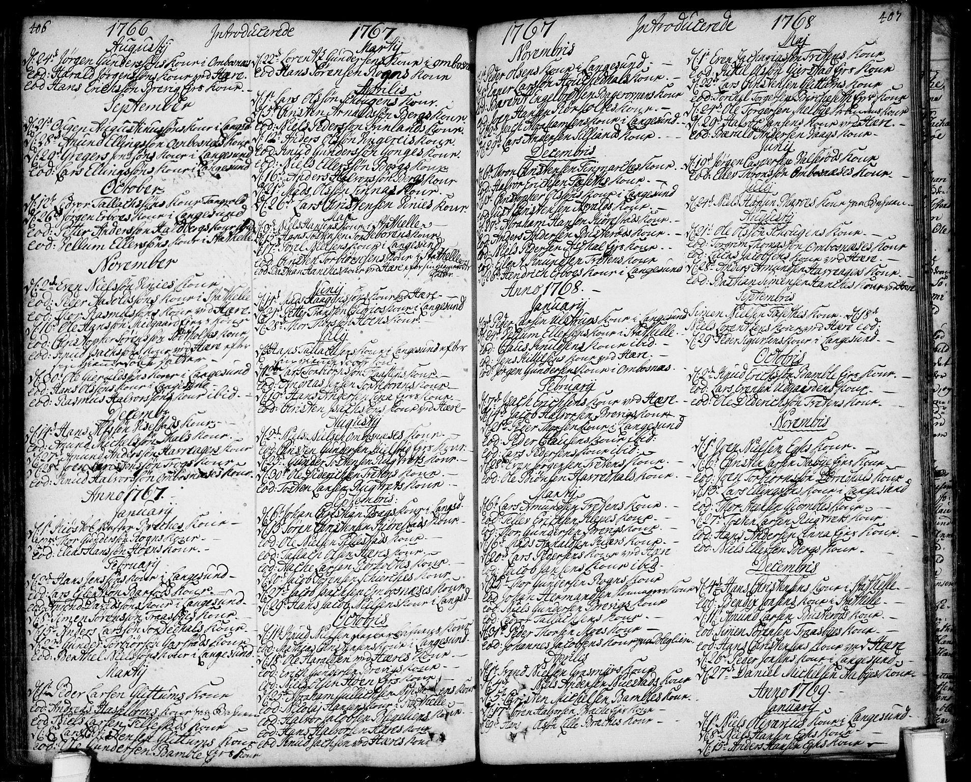 SAKO, Bamble kirkebøker, F/Fa/L0001: Ministerialbok nr. I 1, 1702-1774, s. 406-407
