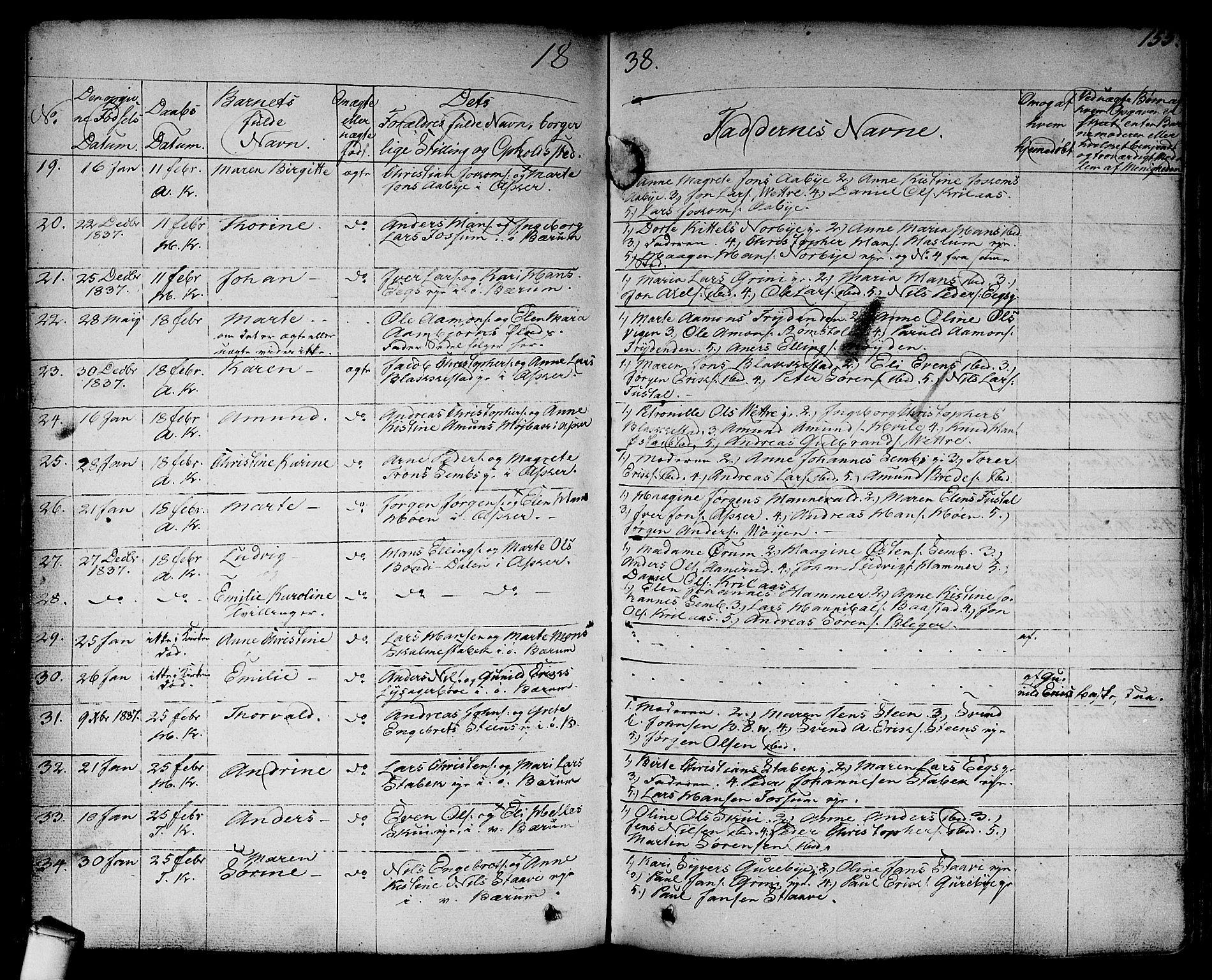 SAO, Asker prestekontor Kirkebøker, F/Fa/L0007: Ministerialbok nr. I 7, 1825-1864, s. 155