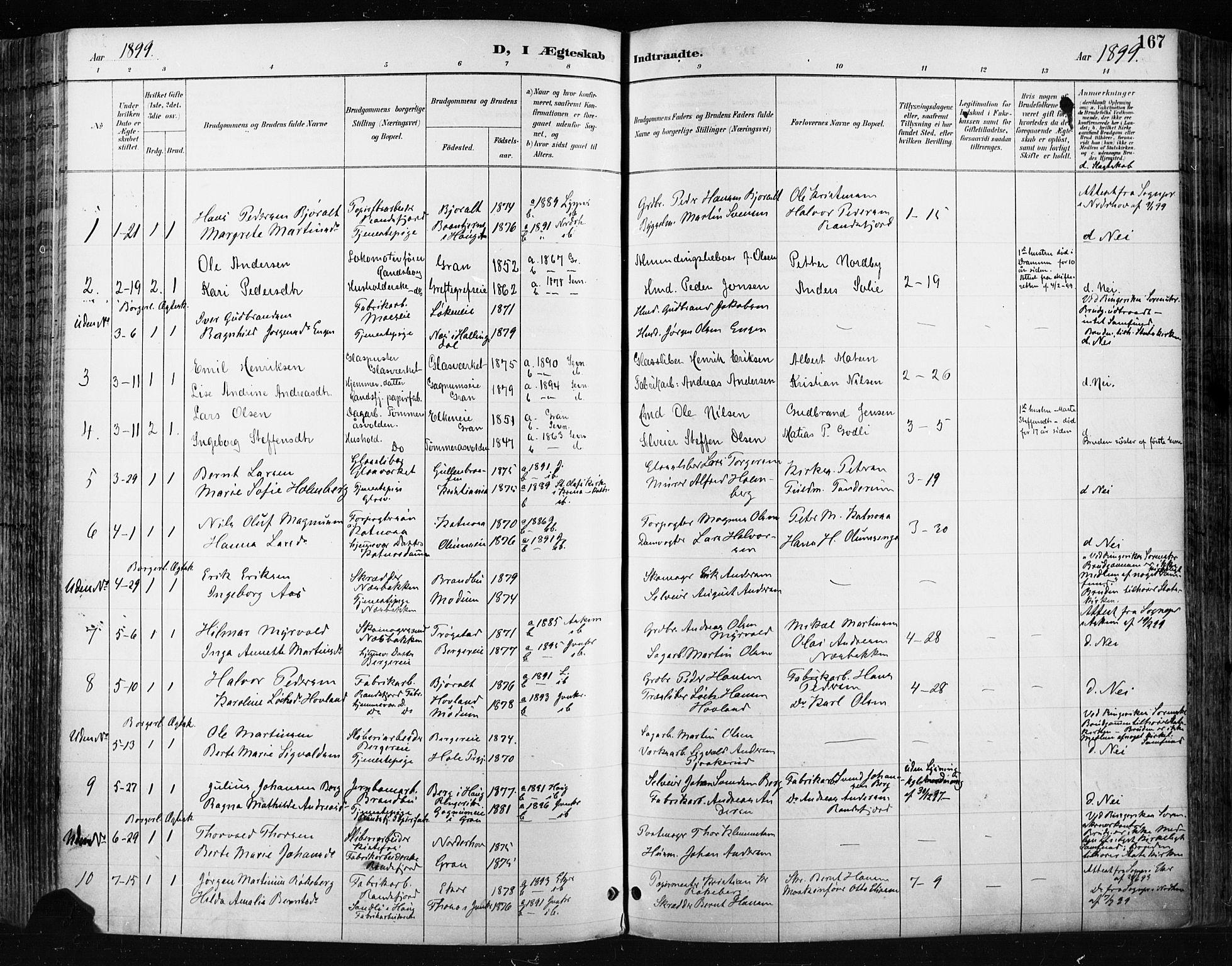 SAH, Jevnaker prestekontor, Ministerialbok nr. 9, 1891-1901, s. 167