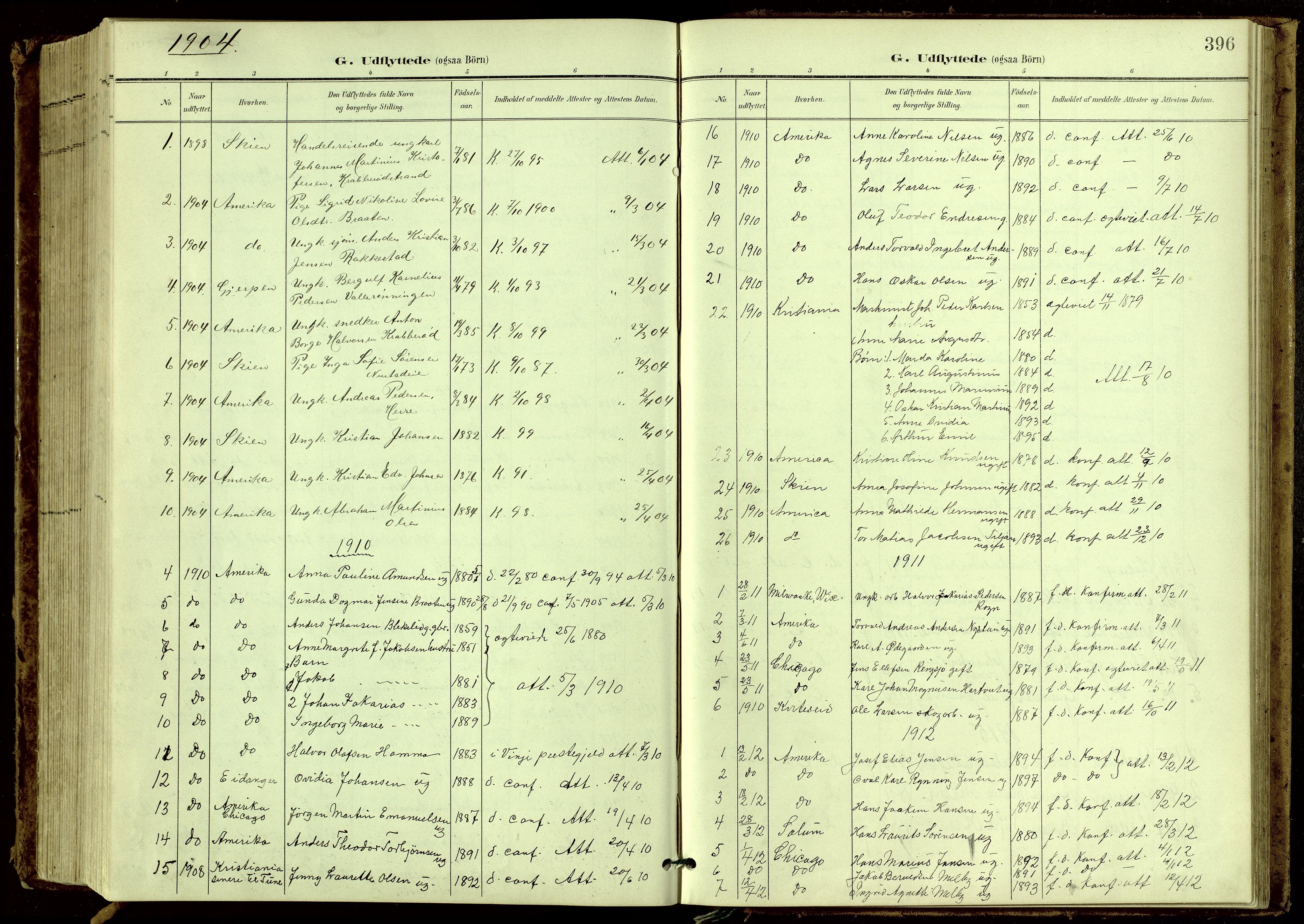 SAKO, Bamble kirkebøker, G/Ga/L0010: Klokkerbok nr. I 10, 1901-1919, s. 396