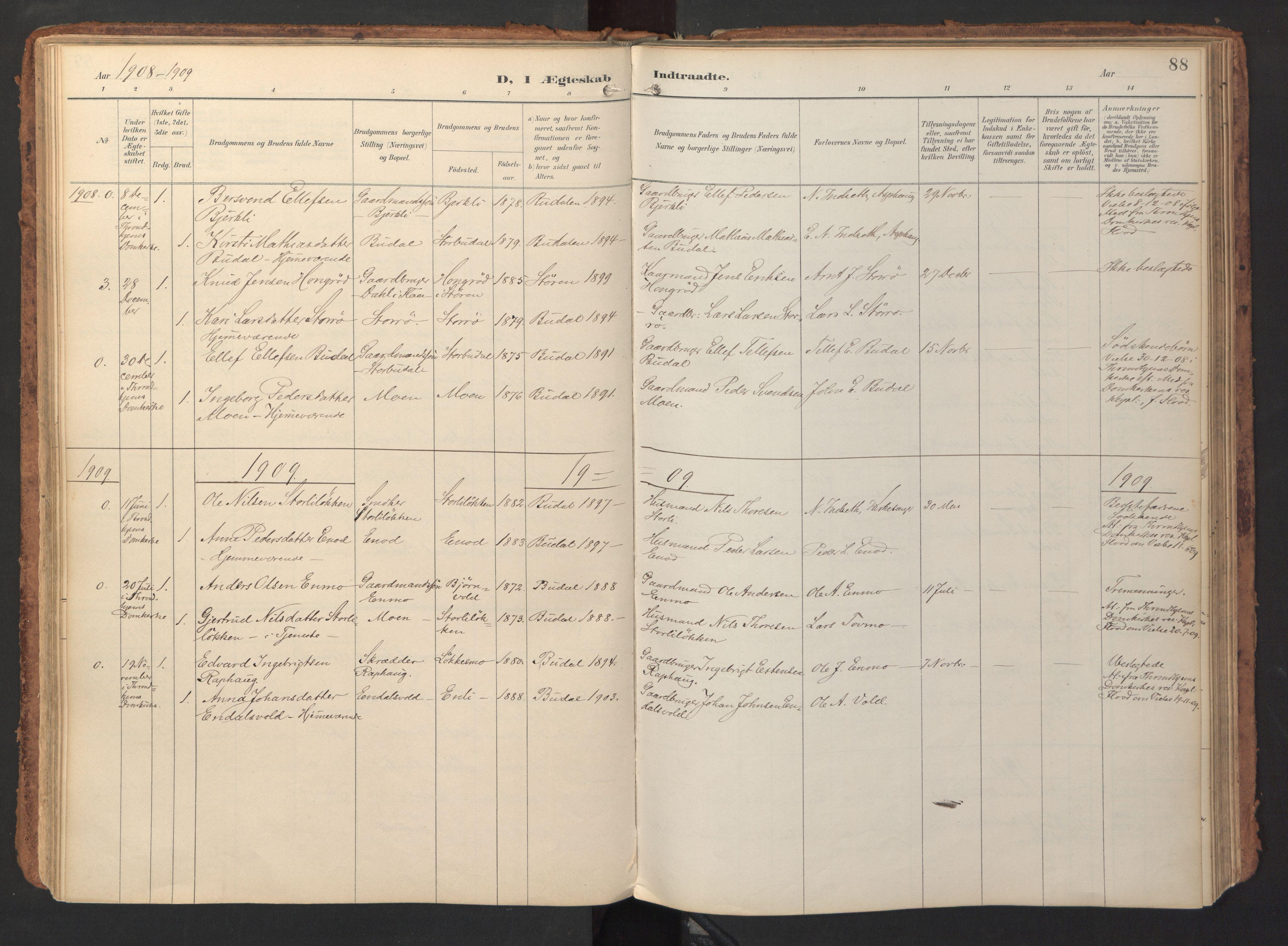 SAT, Ministerialprotokoller, klokkerbøker og fødselsregistre - Sør-Trøndelag, 690/L1050: Ministerialbok nr. 690A01, 1889-1929, s. 88