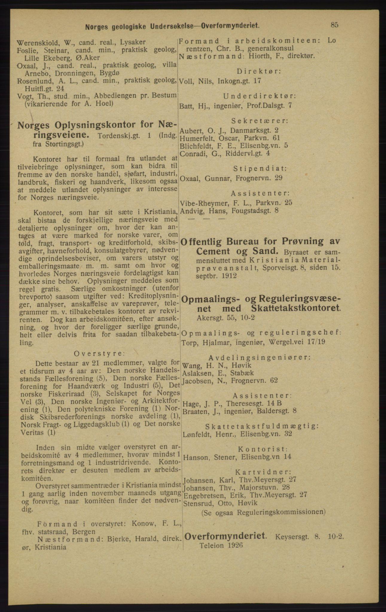 RA, Kristiania adressebok (publikasjon)*, 1913, s. 85