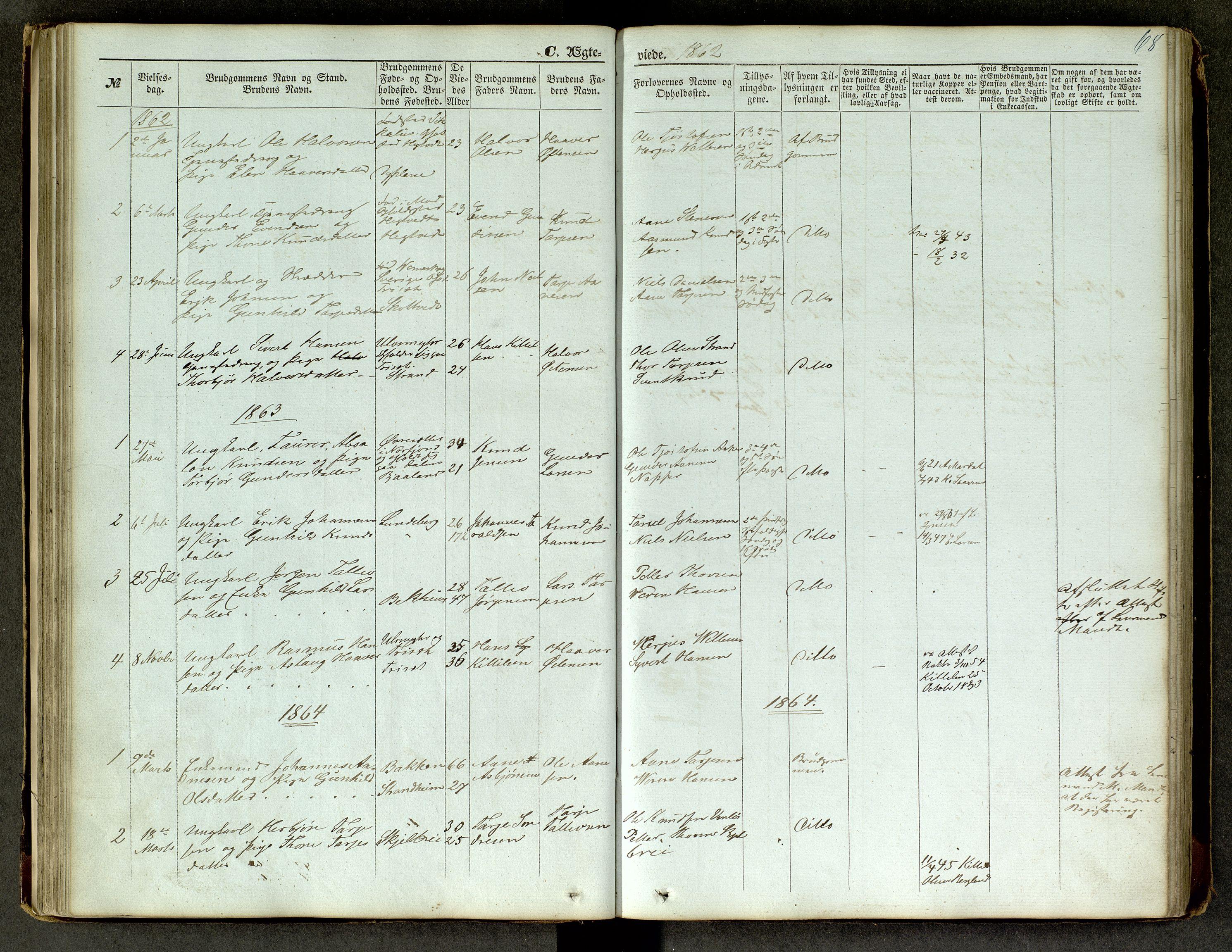 SAKO, Lårdal kirkebøker, G/Ga/L0002: Klokkerbok nr. I 2, 1861-1890, s. 68