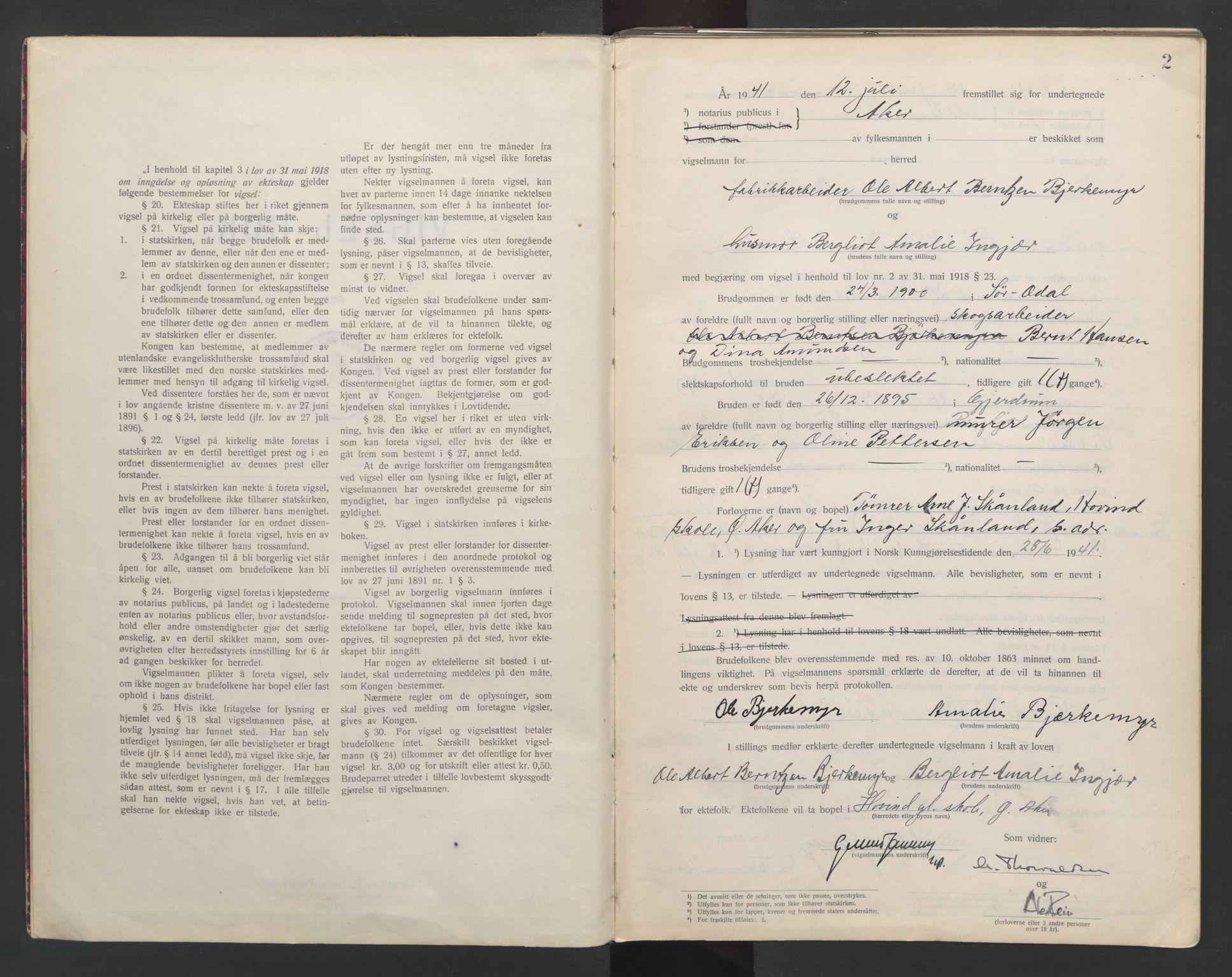 SAO, Aker sorenskriveri, L/Lc/Lcb/L0014: Vigselprotokoll, 1941-1942, s. 2