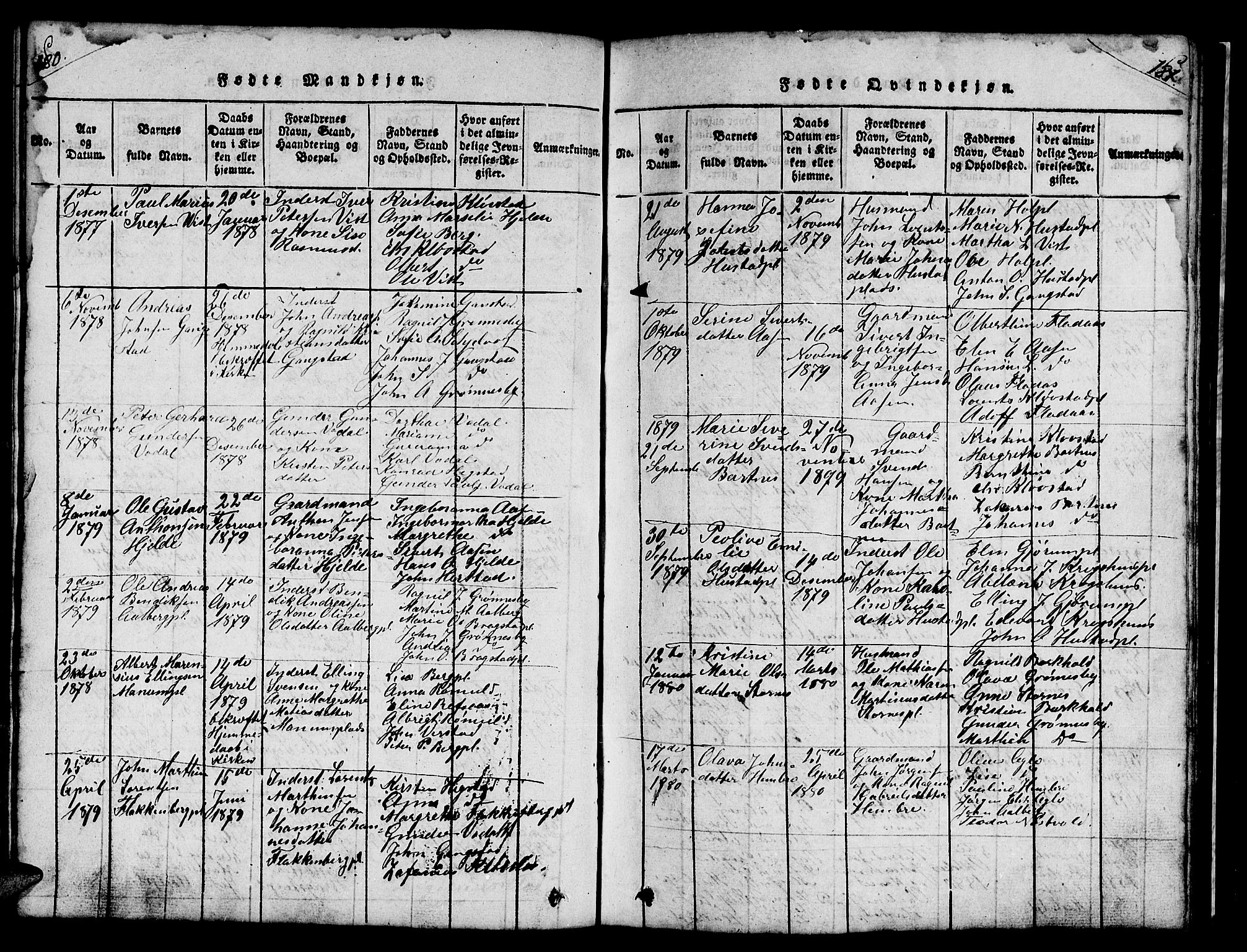 SAT, Ministerialprotokoller, klokkerbøker og fødselsregistre - Nord-Trøndelag, 732/L0317: Klokkerbok nr. 732C01, 1816-1881, s. 180-181