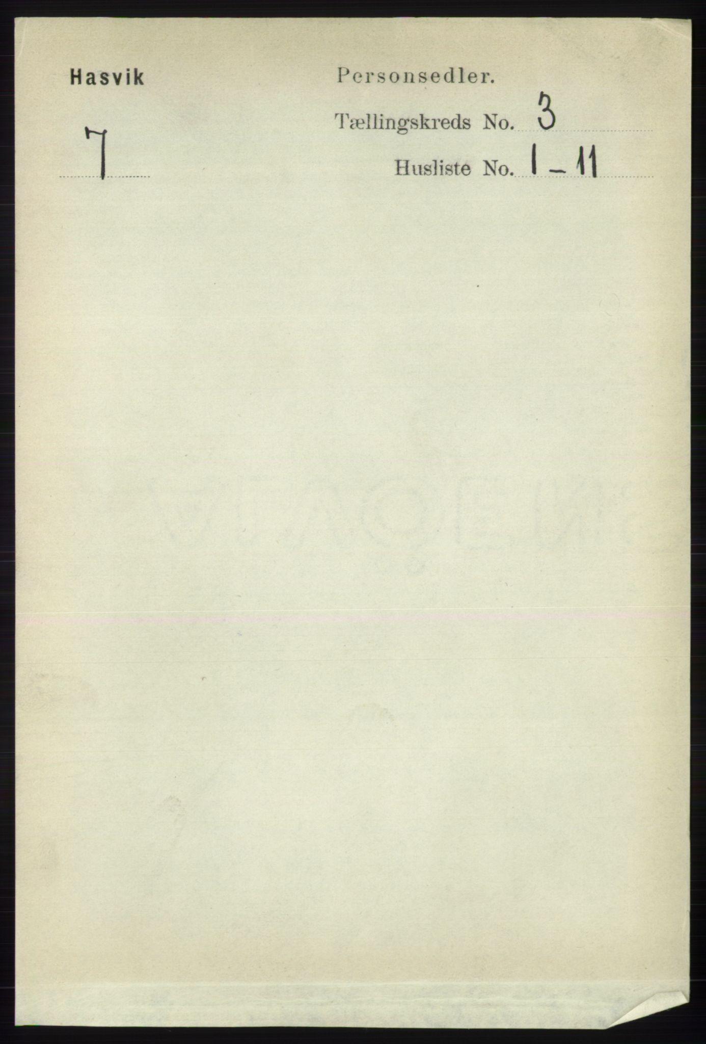 RA, Folketelling 1891 for 2015 Hasvik herred, 1891, s. 400