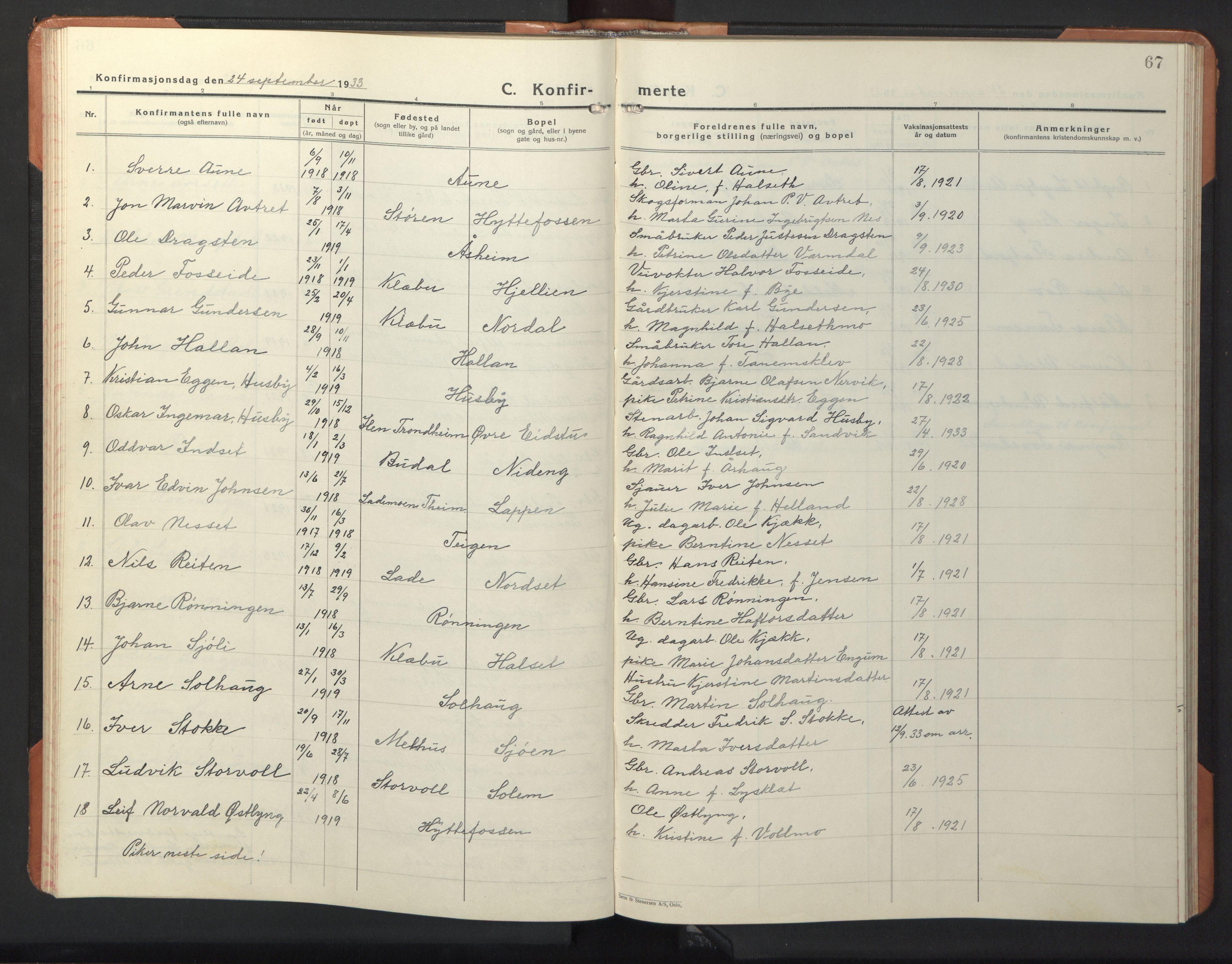 SAT, Ministerialprotokoller, klokkerbøker og fødselsregistre - Sør-Trøndelag, 618/L0454: Klokkerbok nr. 618C05, 1926-1946, s. 67