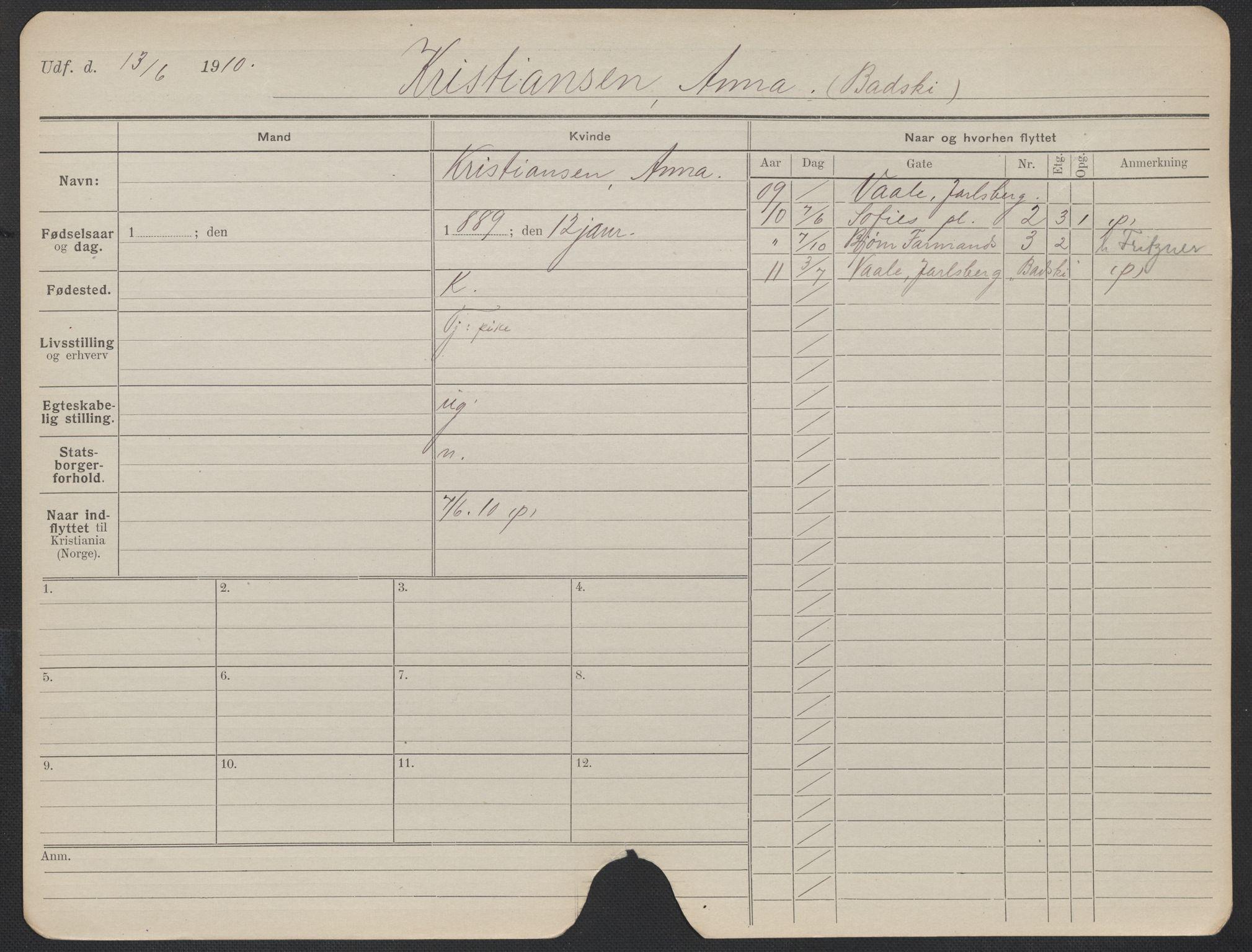 SAO, Oslo folkeregister, Registerkort, F/Fa/Fac/L0019: Kvinner, 1906-1914, s. 226a