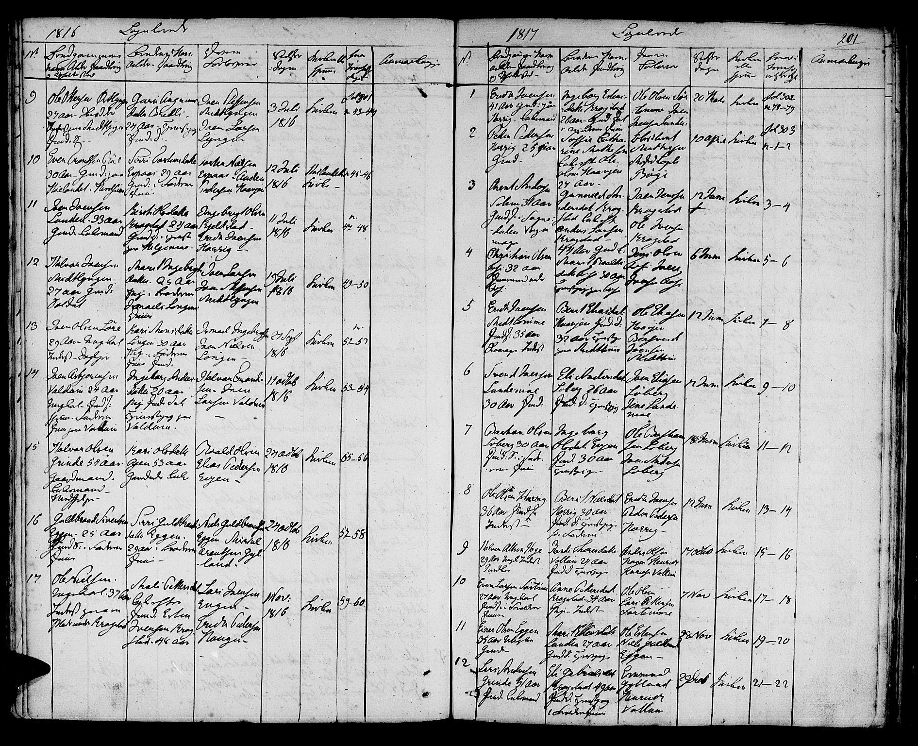 SAT, Ministerialprotokoller, klokkerbøker og fødselsregistre - Sør-Trøndelag, 692/L1108: Klokkerbok nr. 692C03, 1816-1833, s. 201