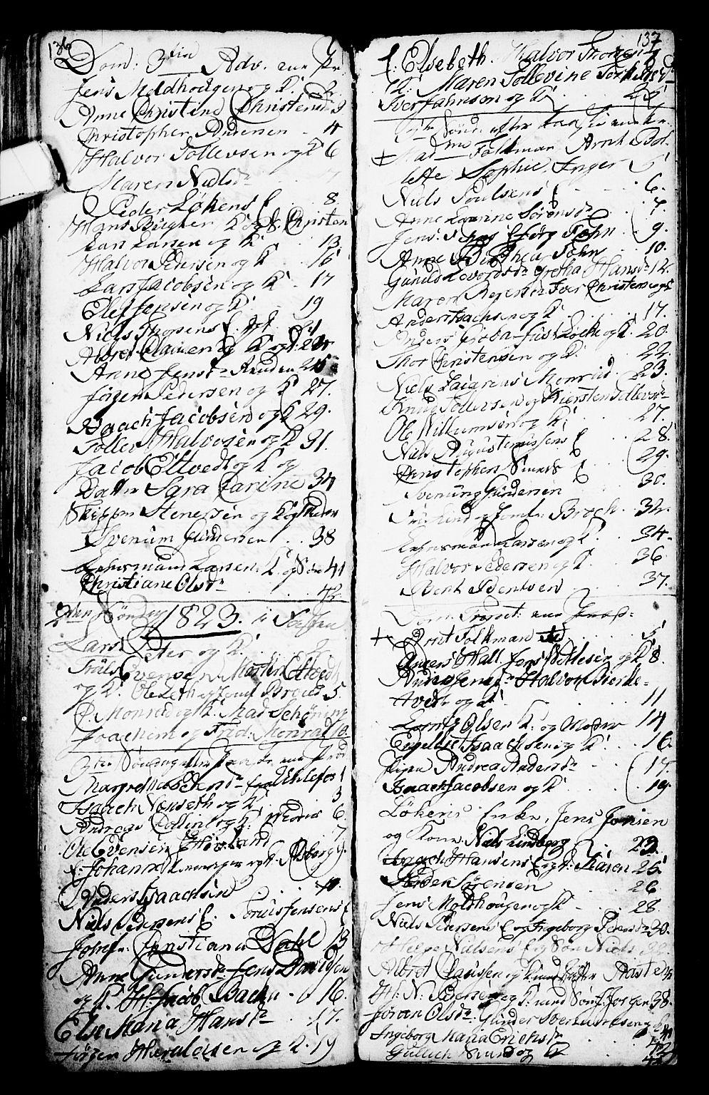 SAKO, Porsgrunn kirkebøker , G/Ga/L0001: Klokkerbok nr. I 1, 1766-1790, s. 136-137