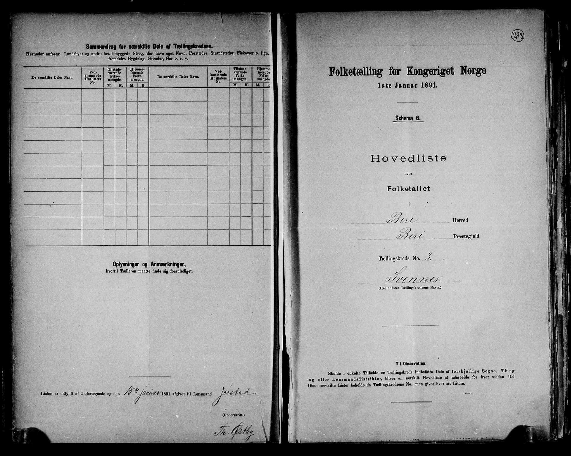 RA, Folketelling 1891 for 0525 Biri herred, 1891, s. 10