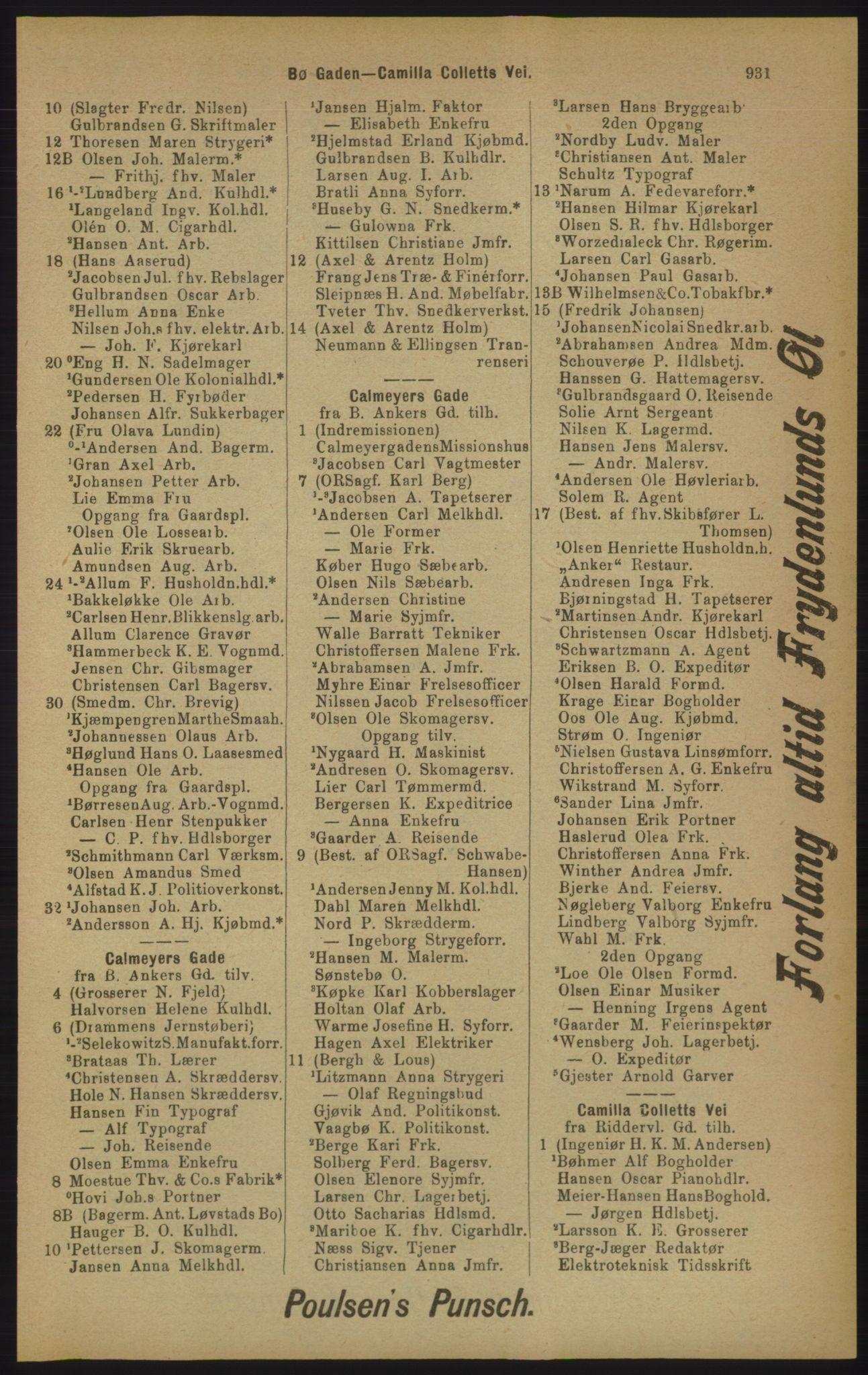 RA, Kristiania adressebok (publikasjon)*, 1905, s. 931