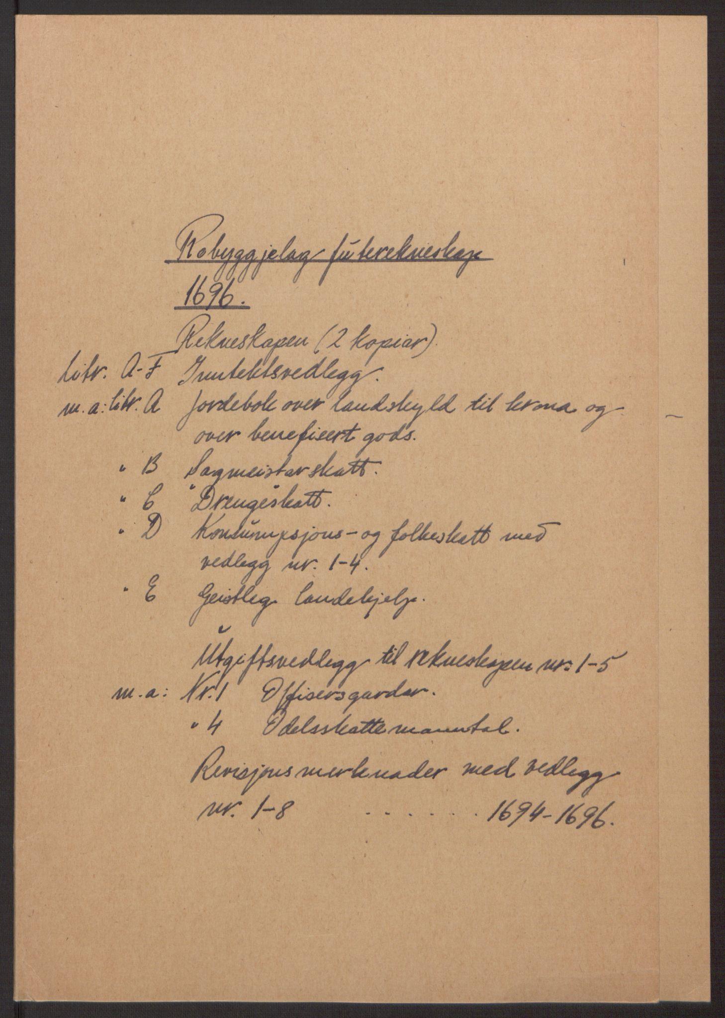 RA, Rentekammeret inntil 1814, Reviderte regnskaper, Fogderegnskap, R40/L2444: Fogderegnskap Råbyggelag, 1693-1696, s. 295