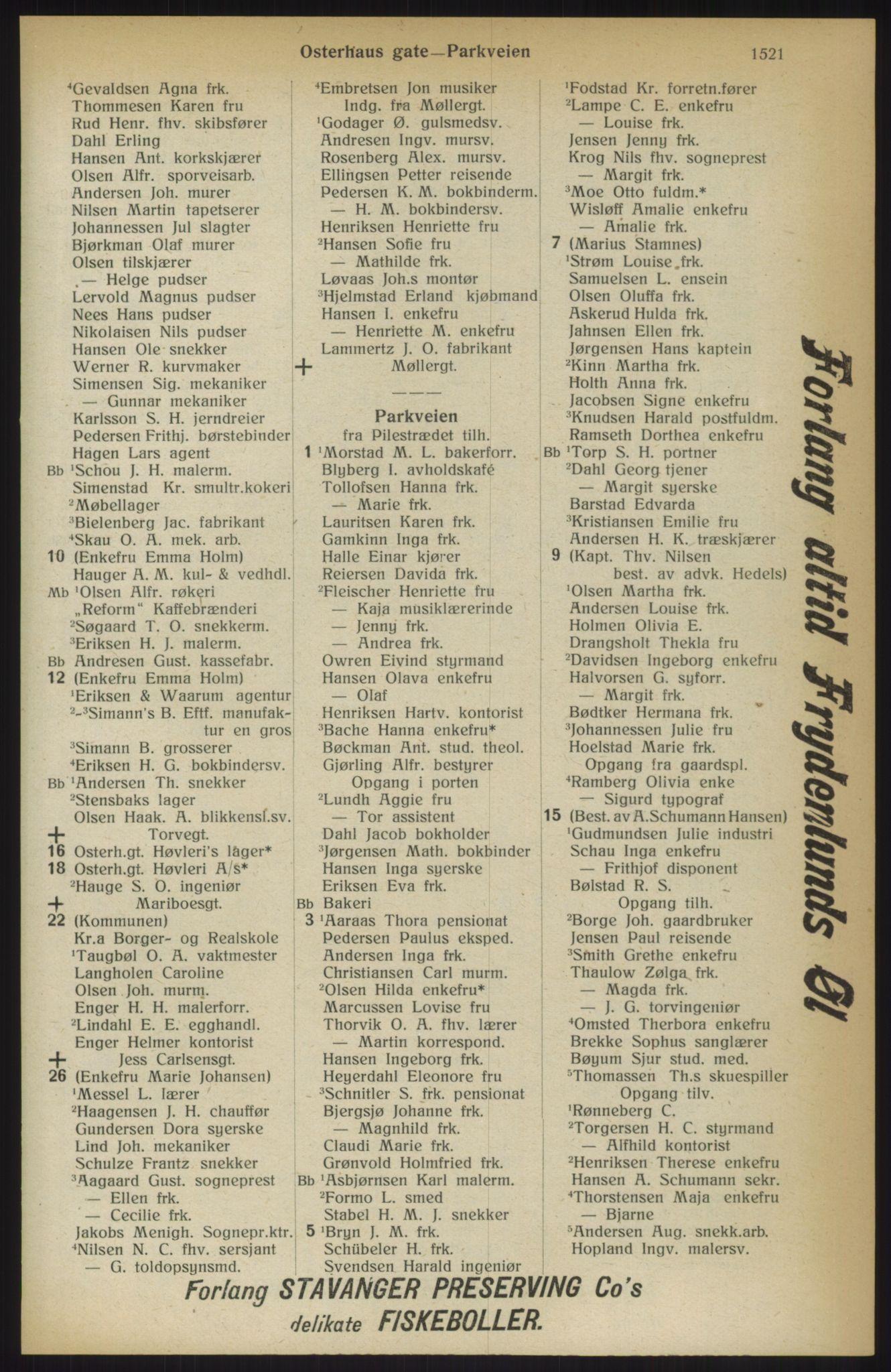 RA, Kristiania adressebok (publikasjon)*, 1914, s. 1521