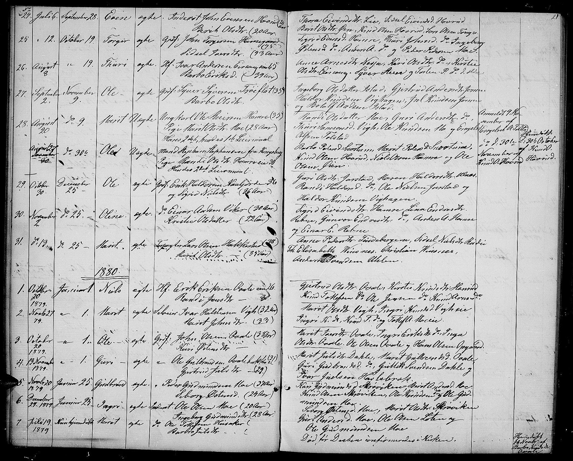 SAH, Vestre Slidre prestekontor, Klokkerbok nr. 1, 1869-1882, s. 21