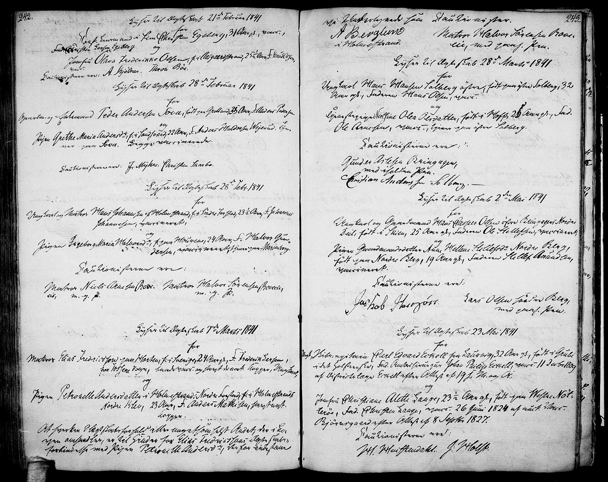 SAKO, Botne kirkebøker, F/Fa/L0003: Ministerialbok nr. I 3 /1, 1792-1844, s. 242-243