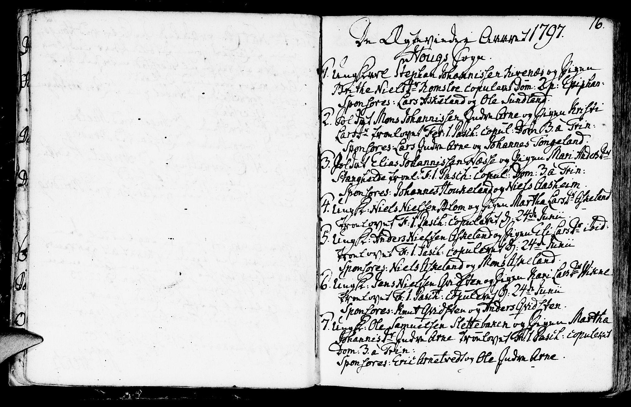 SAB, Haus sokneprestembete, H/Haa: Ministerialbok nr. A 11, 1796-1816, s. 16