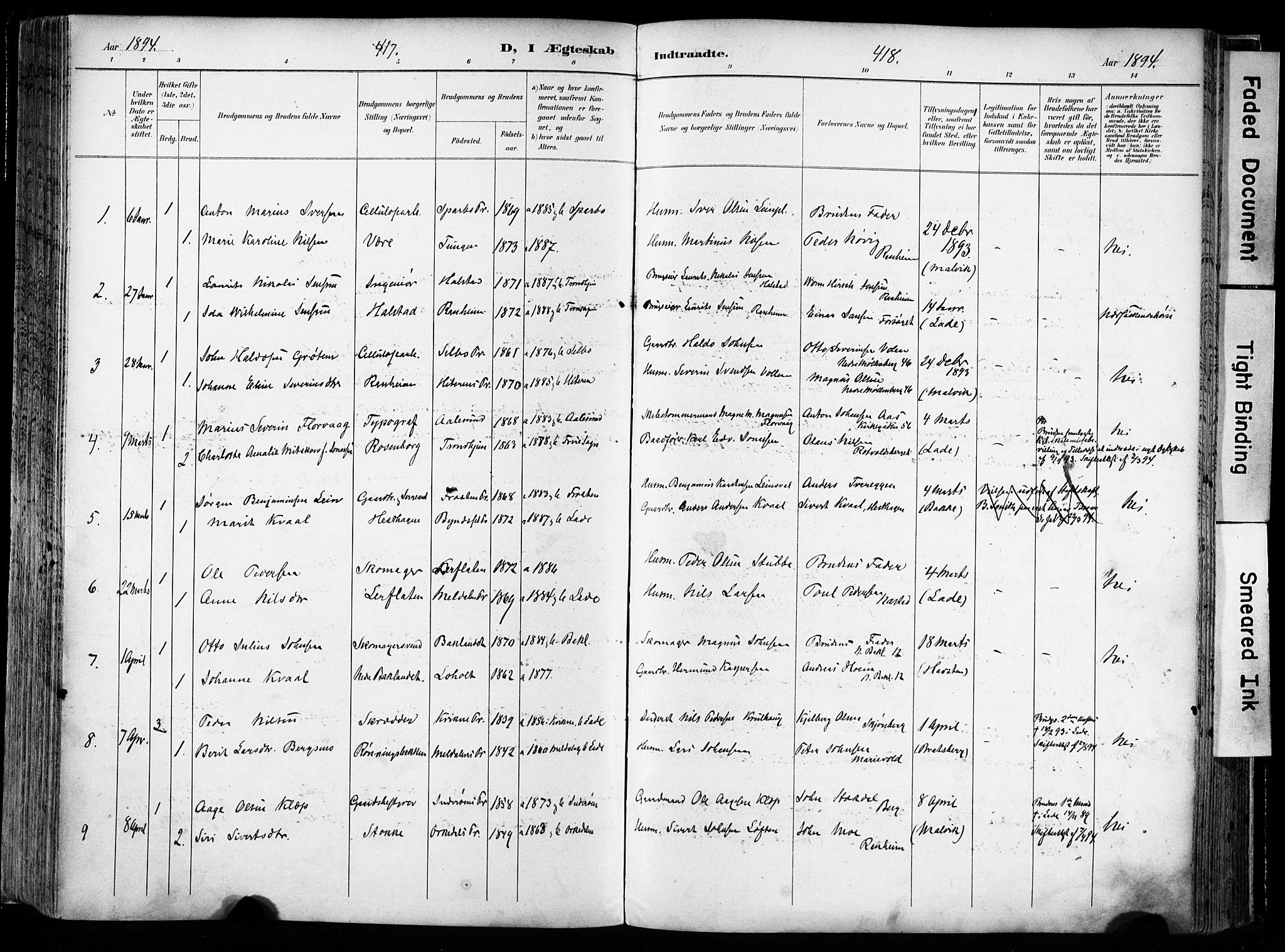 SAT, Ministerialprotokoller, klokkerbøker og fødselsregistre - Sør-Trøndelag, 606/L0301: Ministerialbok nr. 606A16, 1894-1907, s. 417-418