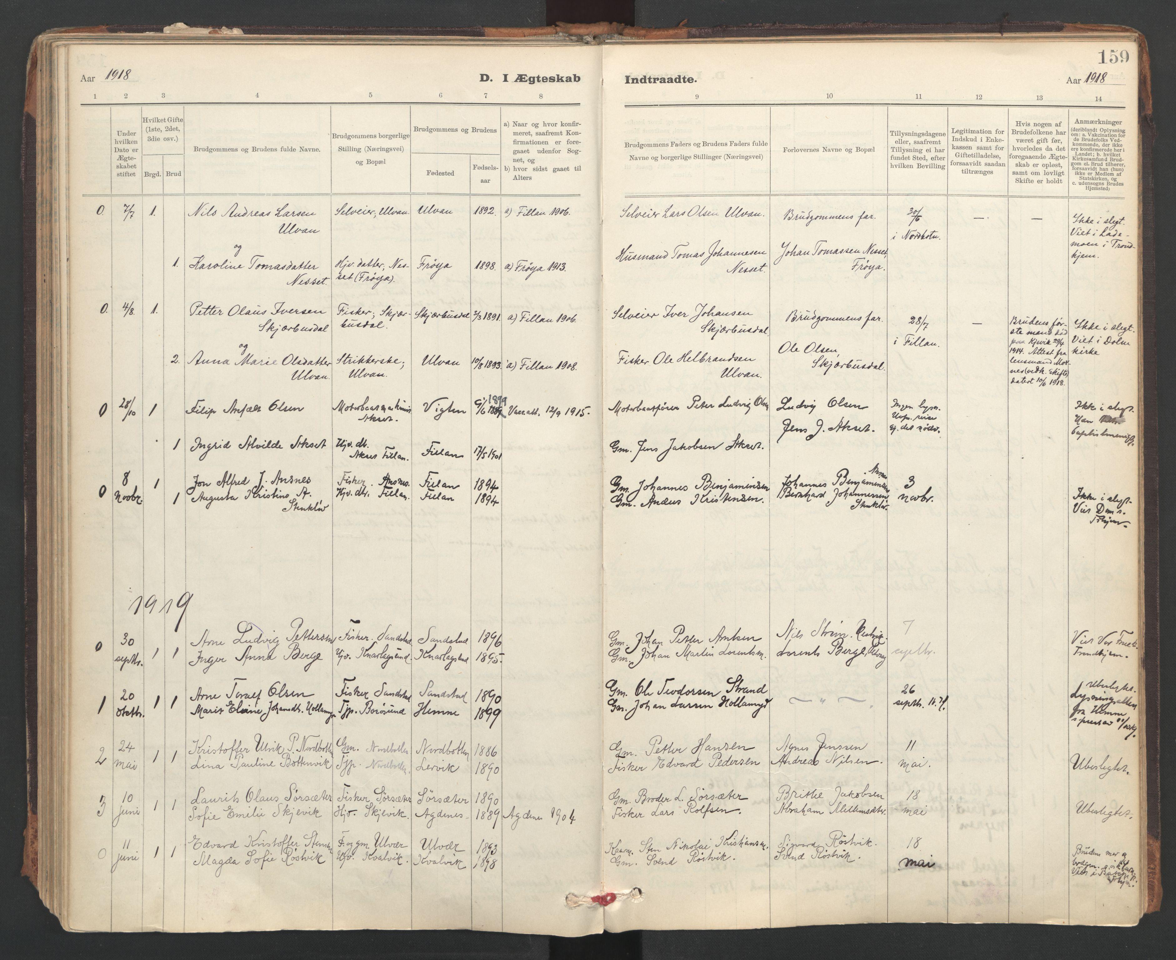 SAT, Ministerialprotokoller, klokkerbøker og fødselsregistre - Sør-Trøndelag, 637/L0559: Ministerialbok nr. 637A02, 1899-1923, s. 159