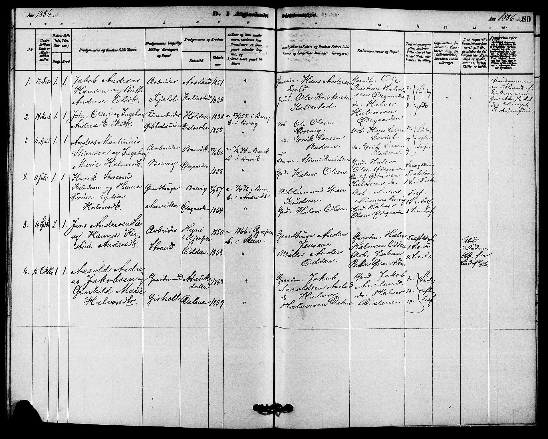 SAKO, Solum kirkebøker, F/Fc/L0001: Ministerialbok nr. III 1, 1877-1891, s. 80