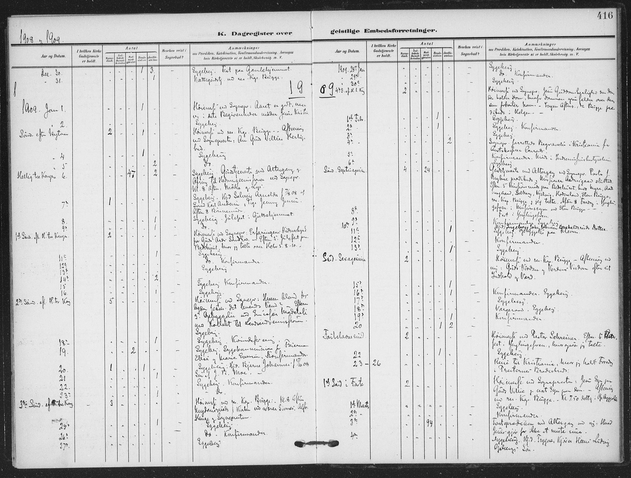 SAKO, Skien kirkebøker, F/Fa/L0012: Ministerialbok nr. 12, 1908-1914, s. 416