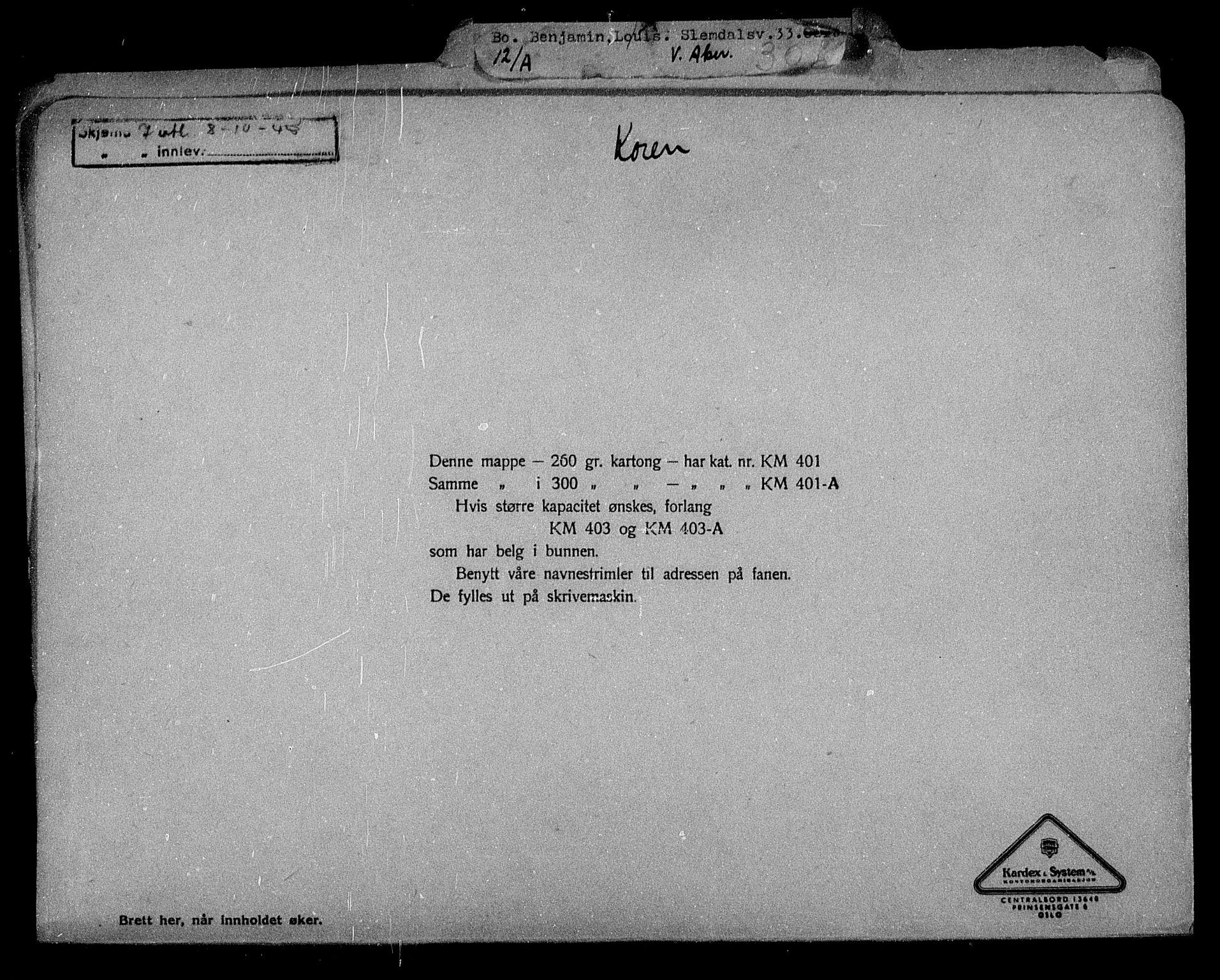 RA, Justisdepartementet, Tilbakeføringskontoret for inndratte formuer, H/Hc/Hcc/L0920: --, 1945-1947, s. 2