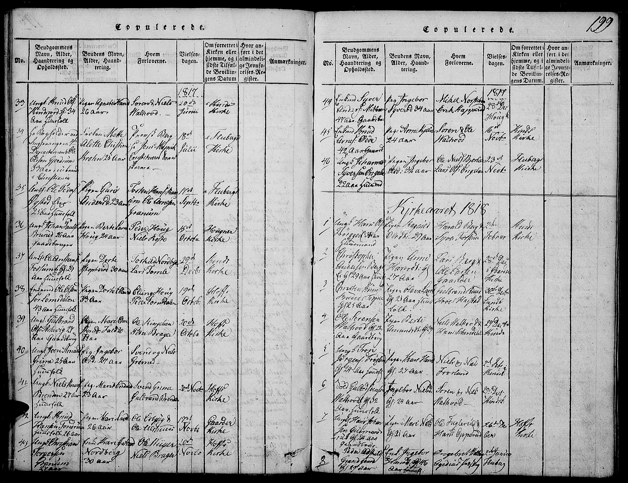 SAH, Land prestekontor, Ministerialbok nr. 7, 1814-1830, s. 199